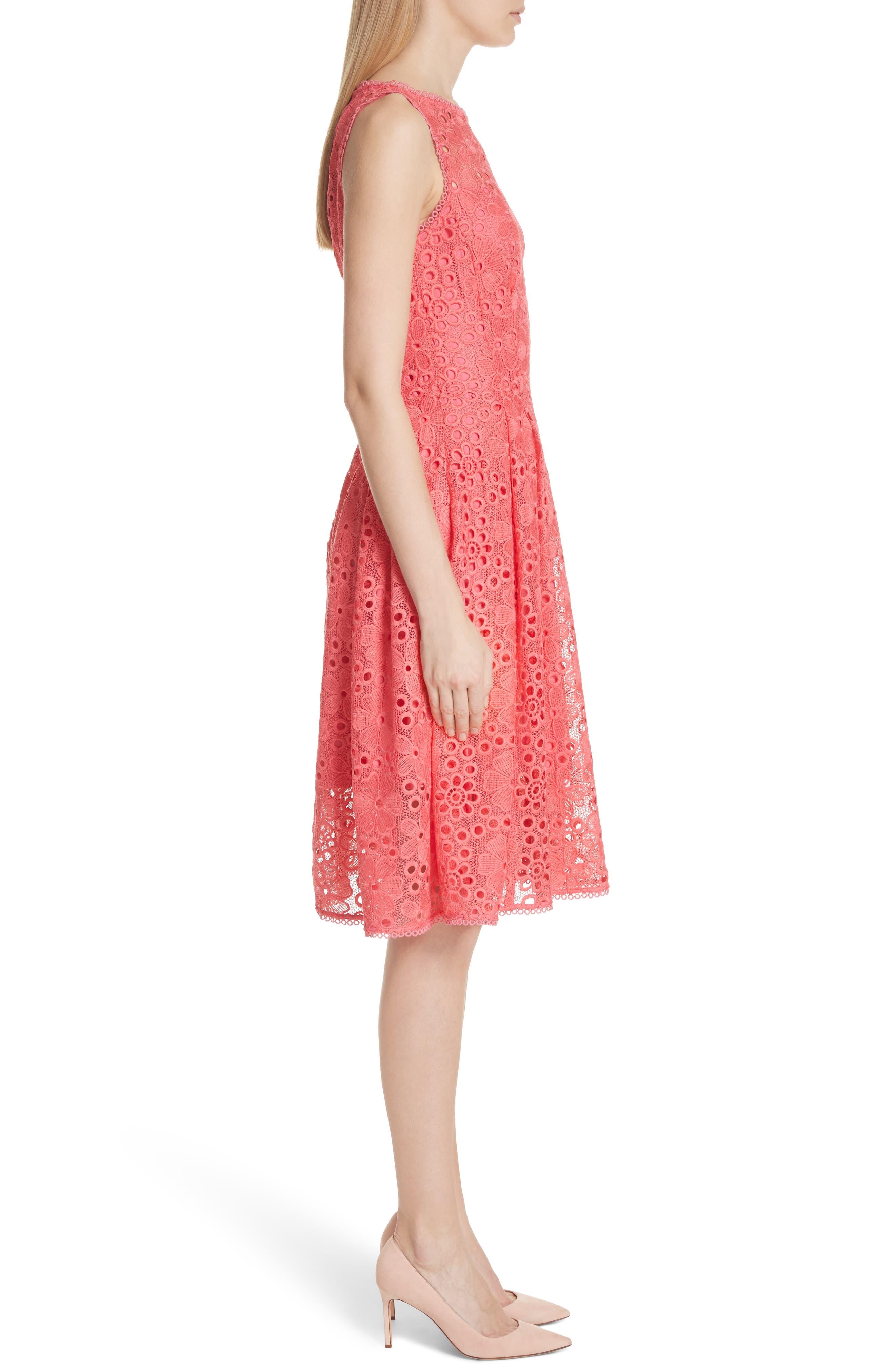 lace fit & flare dress,                             Alternate thumbnail 3, color,                             Peach Sherbet