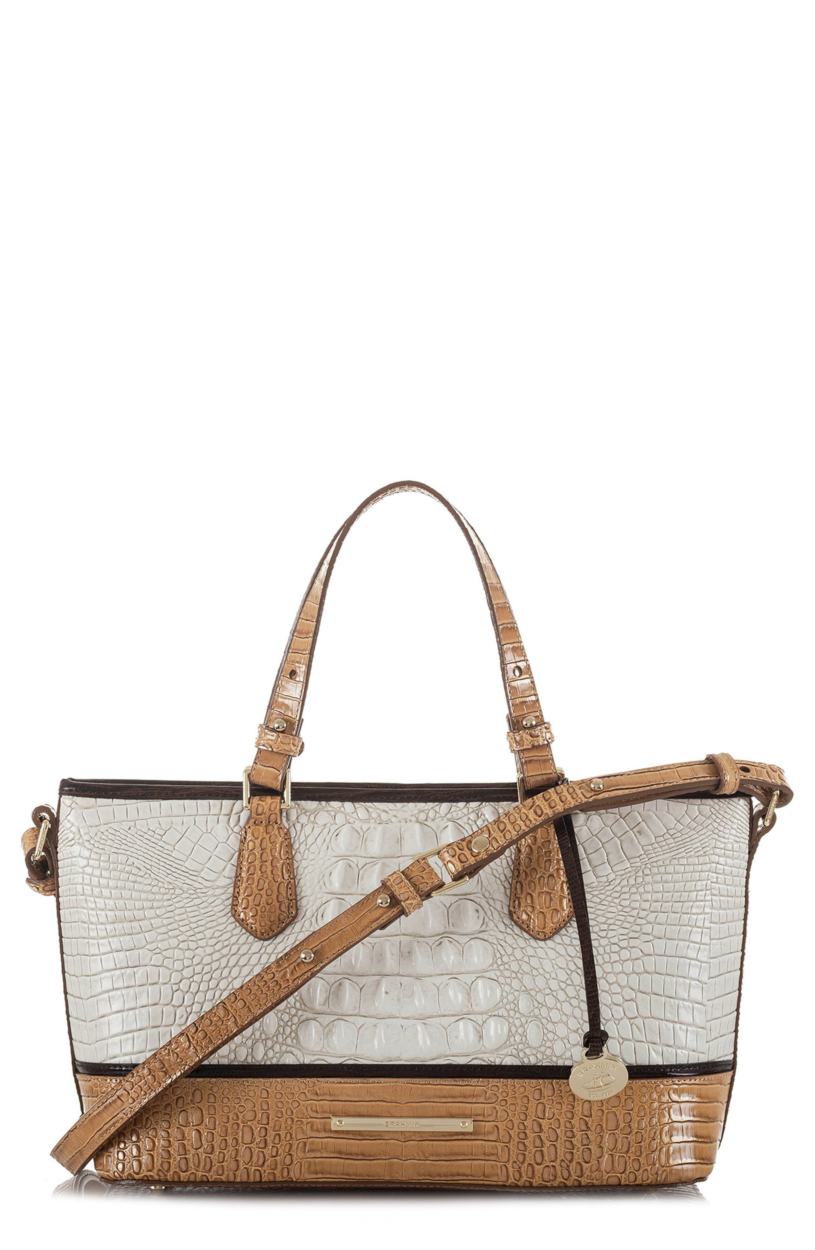 Mini Asher Embossed Leather Tote,                             Main thumbnail 1, color,                             Coconut