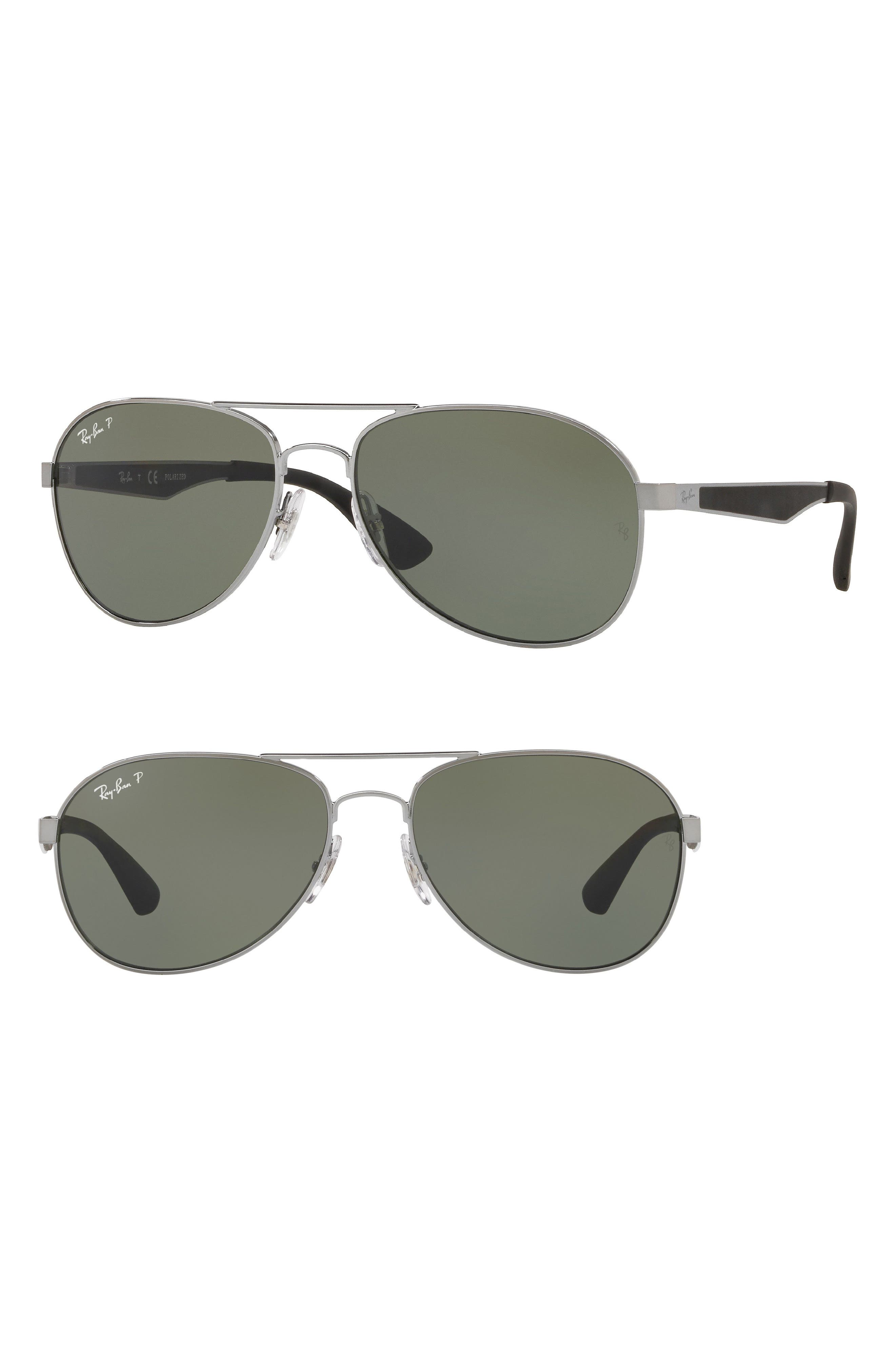 61mm Polarized Aviator Sunglasses,                         Main,                         color, Gunmetal
