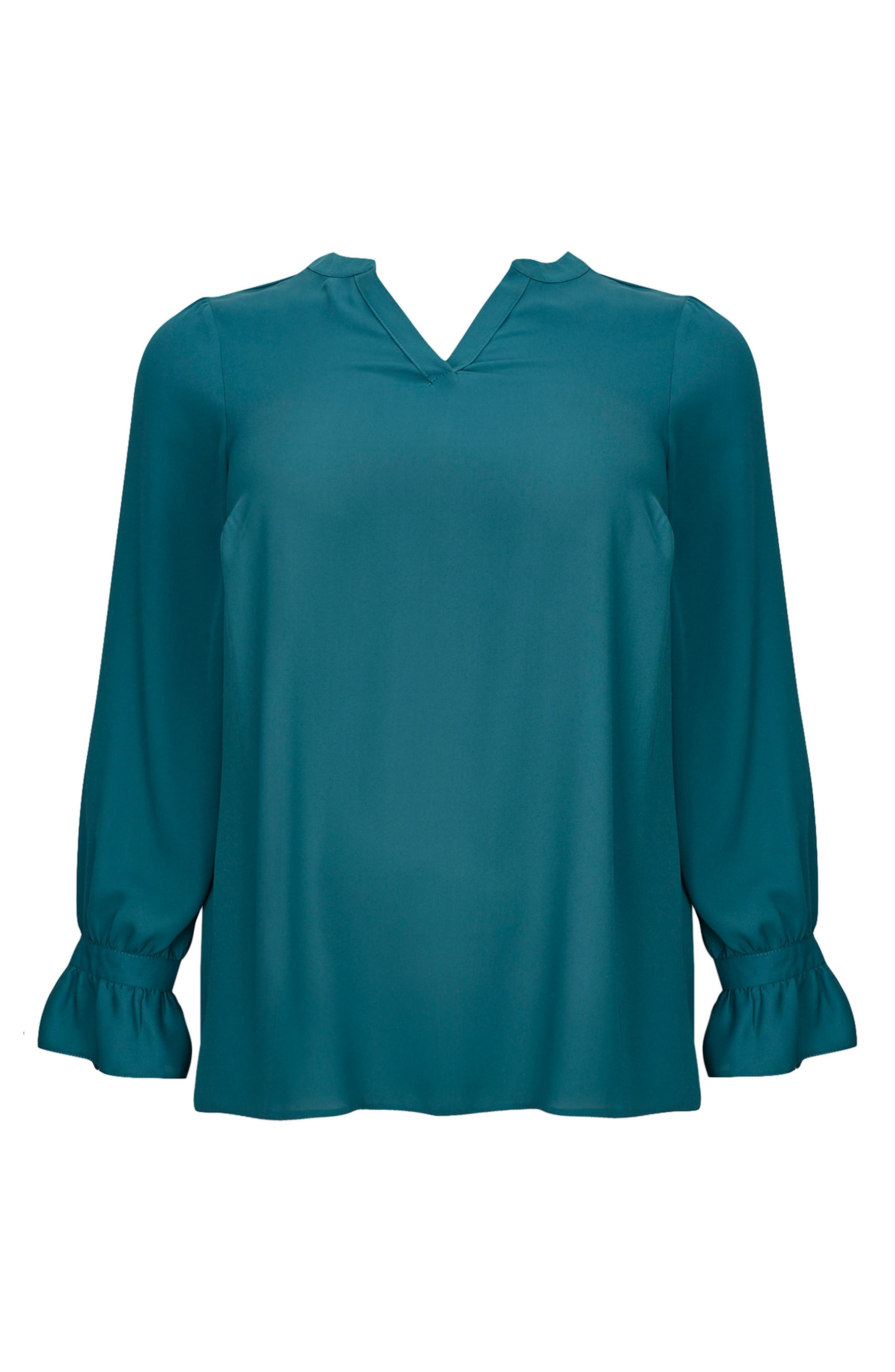 Tie Ruffle Cuff Top,                             Alternate thumbnail 4, color,                             Teal