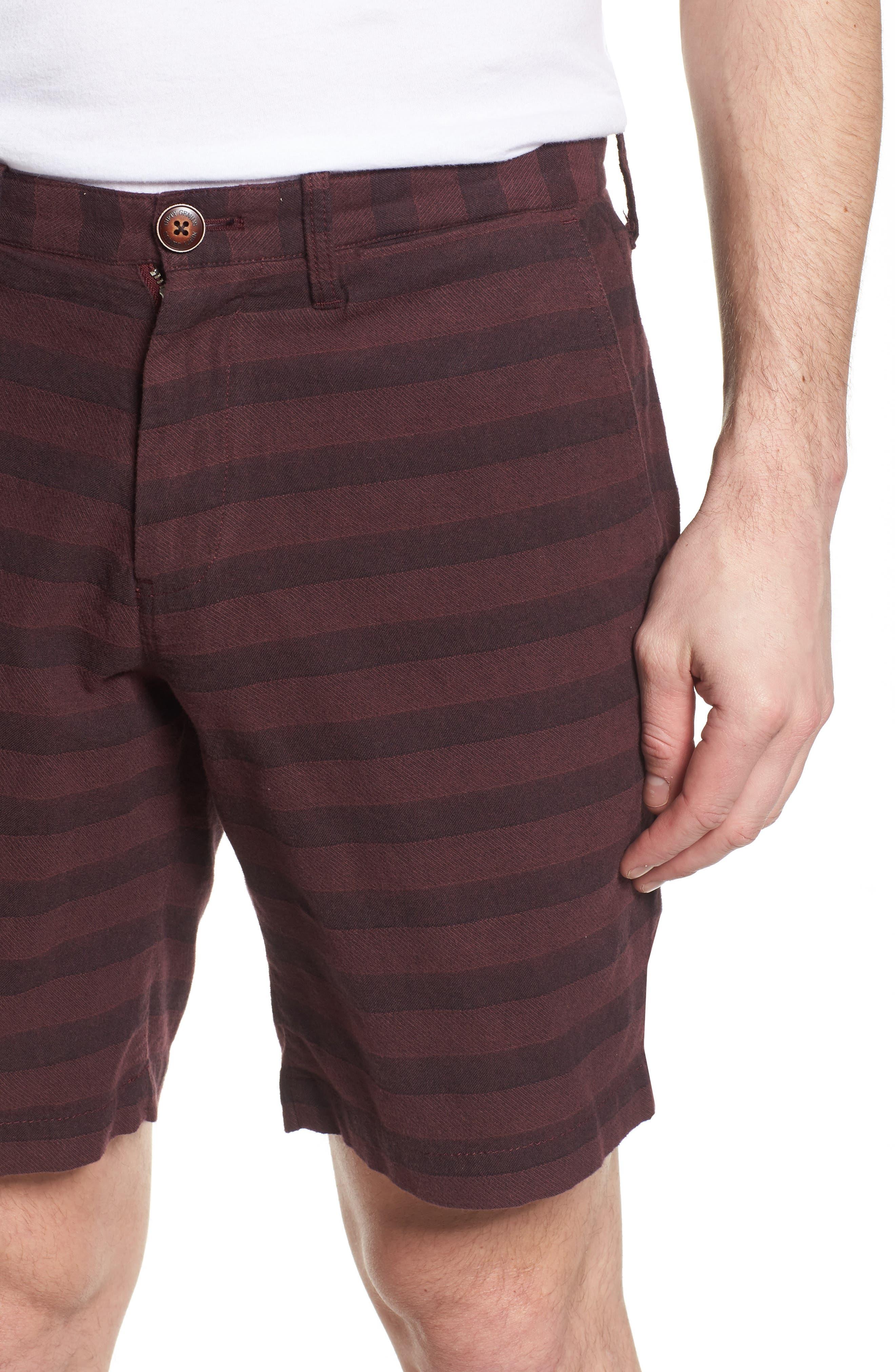 Morgan Stripe Bermuda Shorts,                             Alternate thumbnail 4, color,                             Burgundy