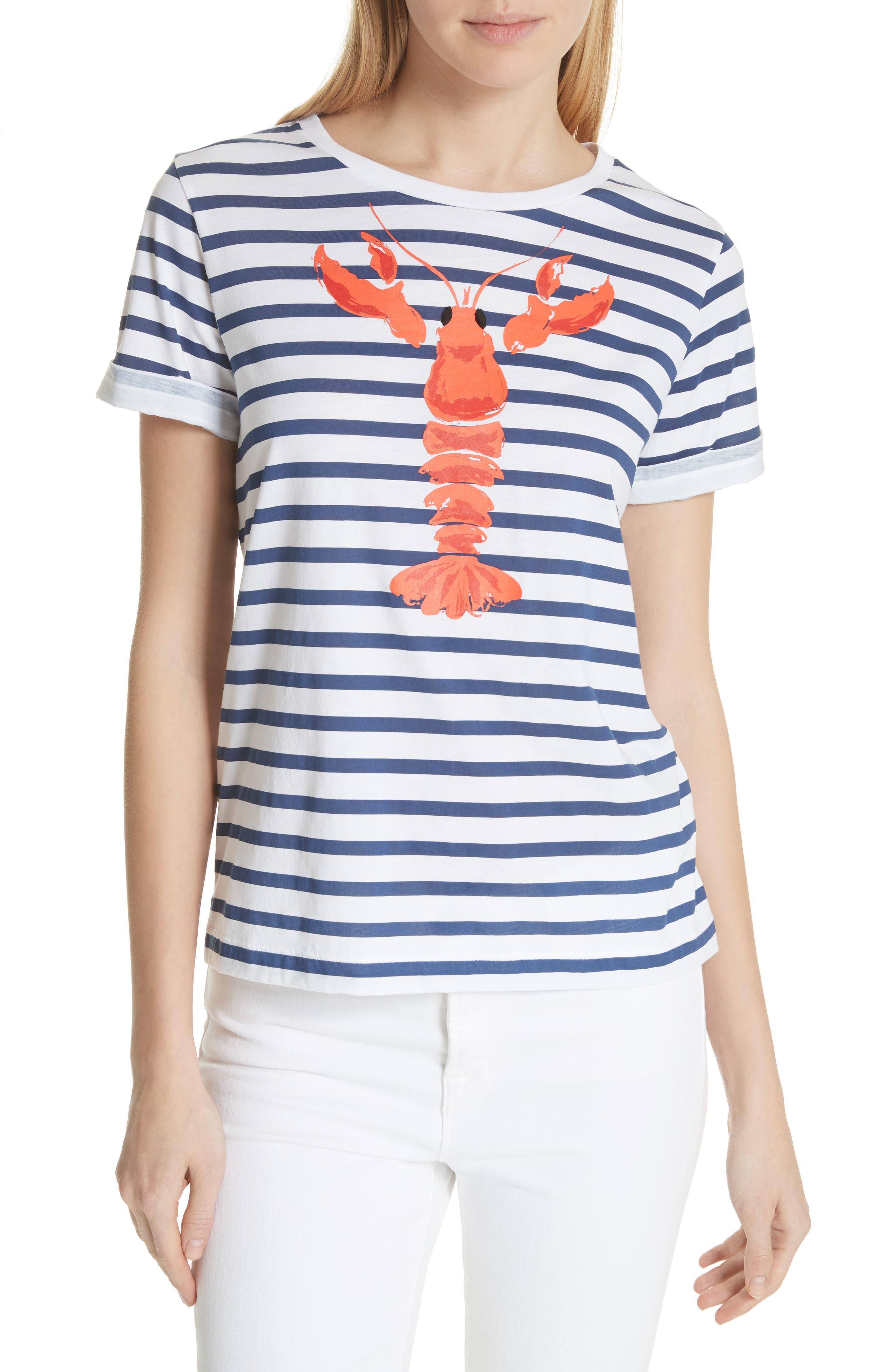 lobster stripe tee,                         Main,                         color, Fresh White