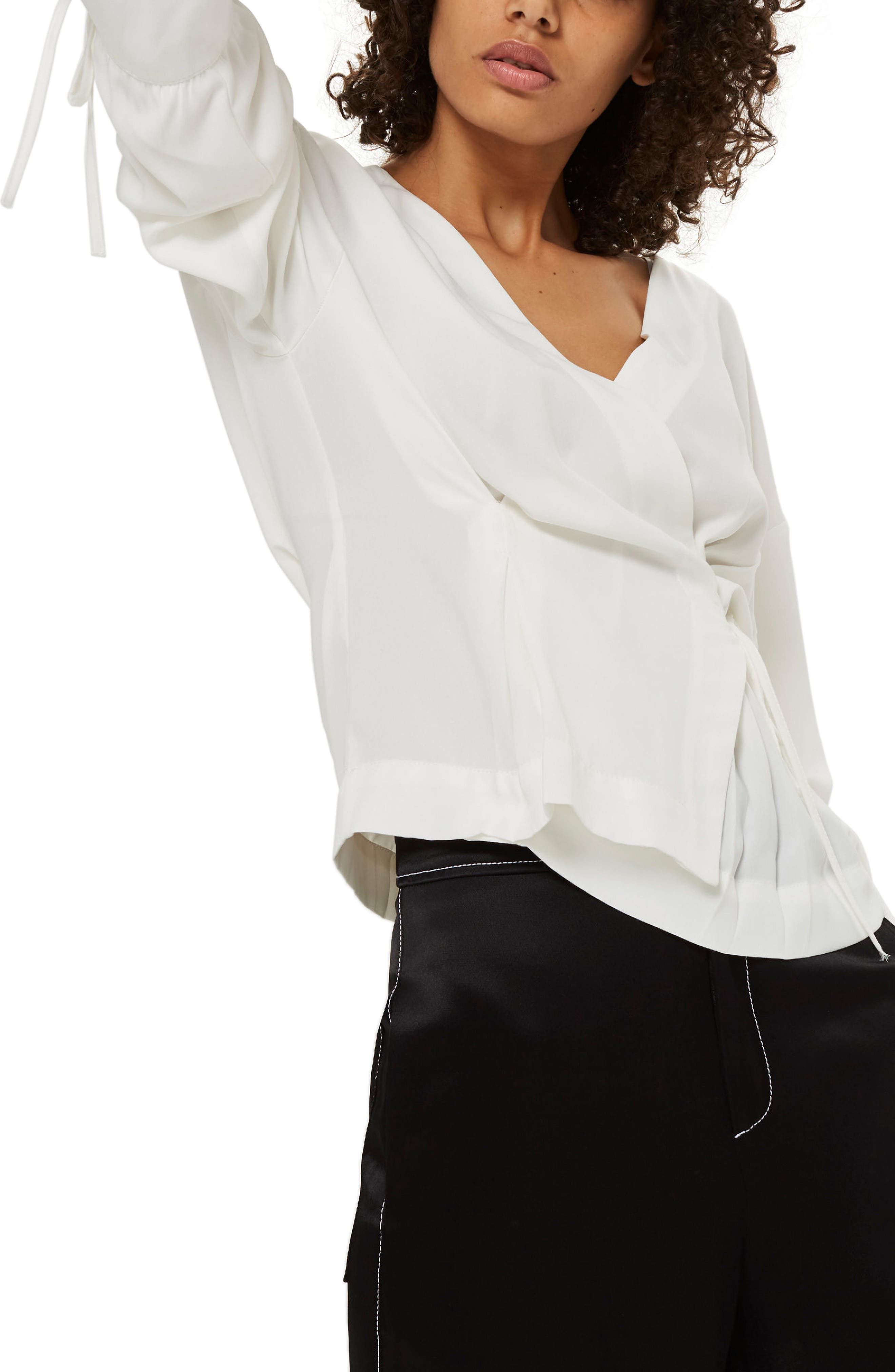 Tie Sleeve Wrap Blouse,                         Main,                         color, Ivory