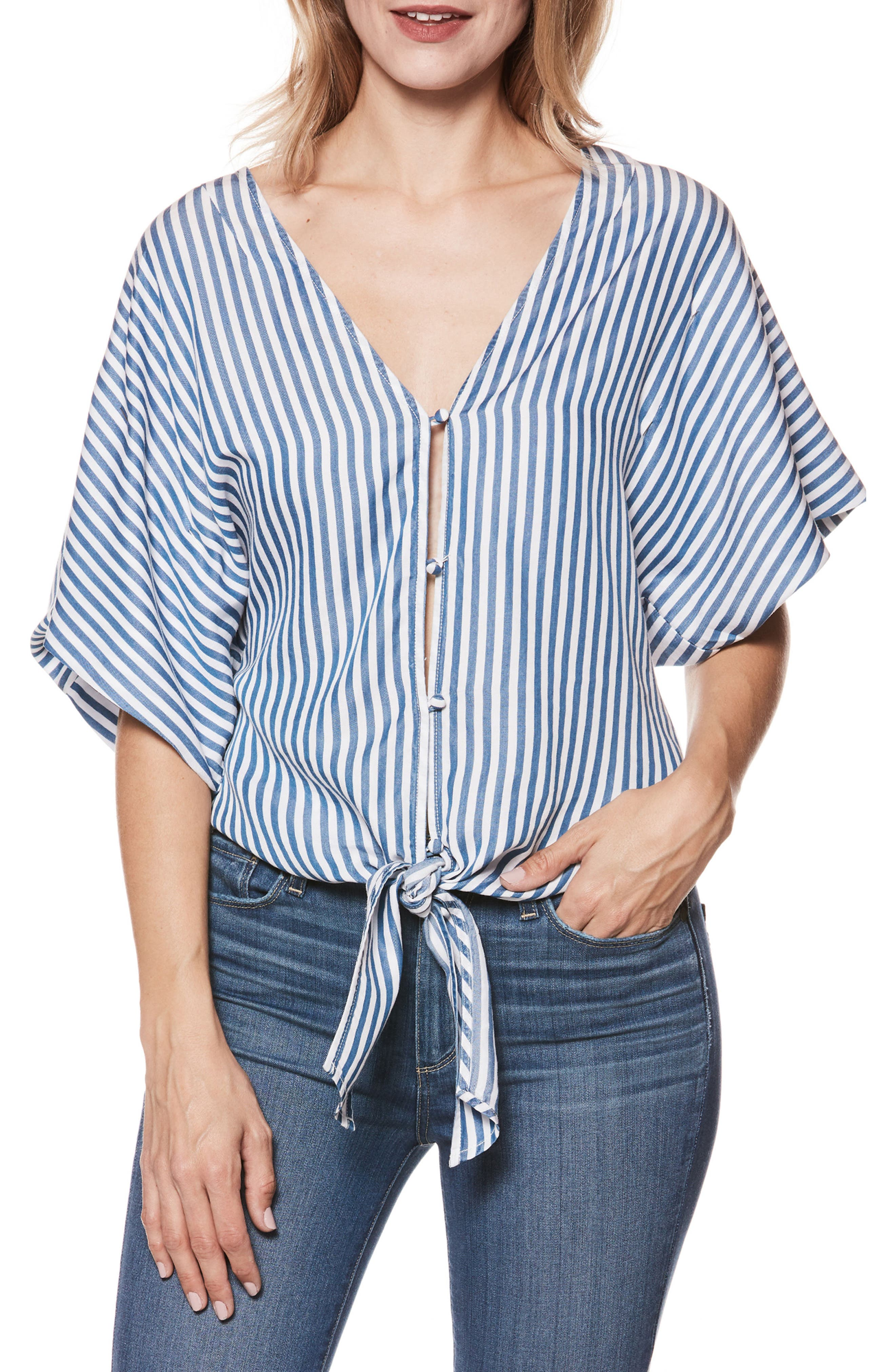 Baylee Top,                         Main,                         color, White / Blue Bell Stripe