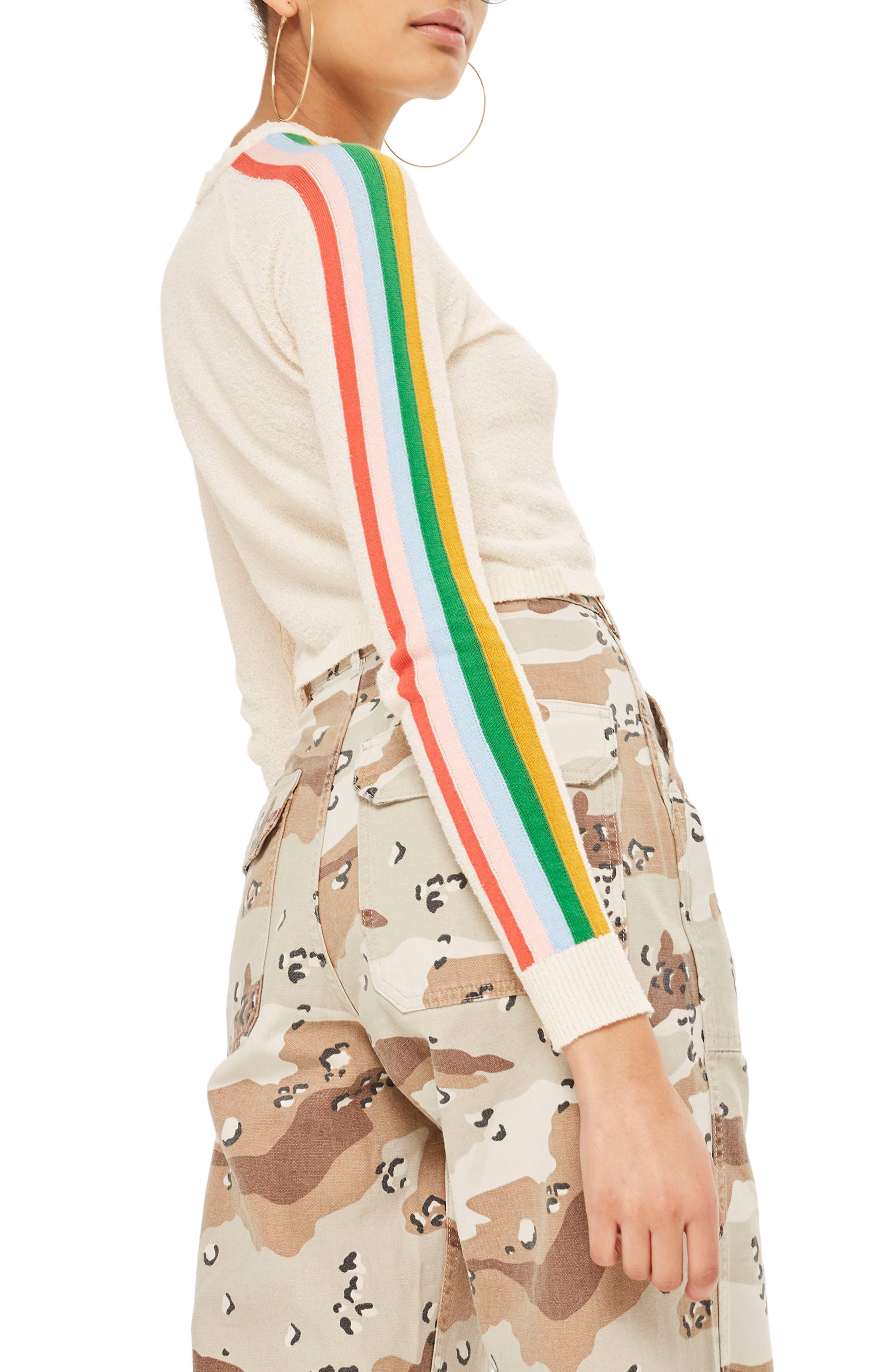 Rainbow Sleeve Knit Top,                             Alternate thumbnail 3, color,                             Cream Multi