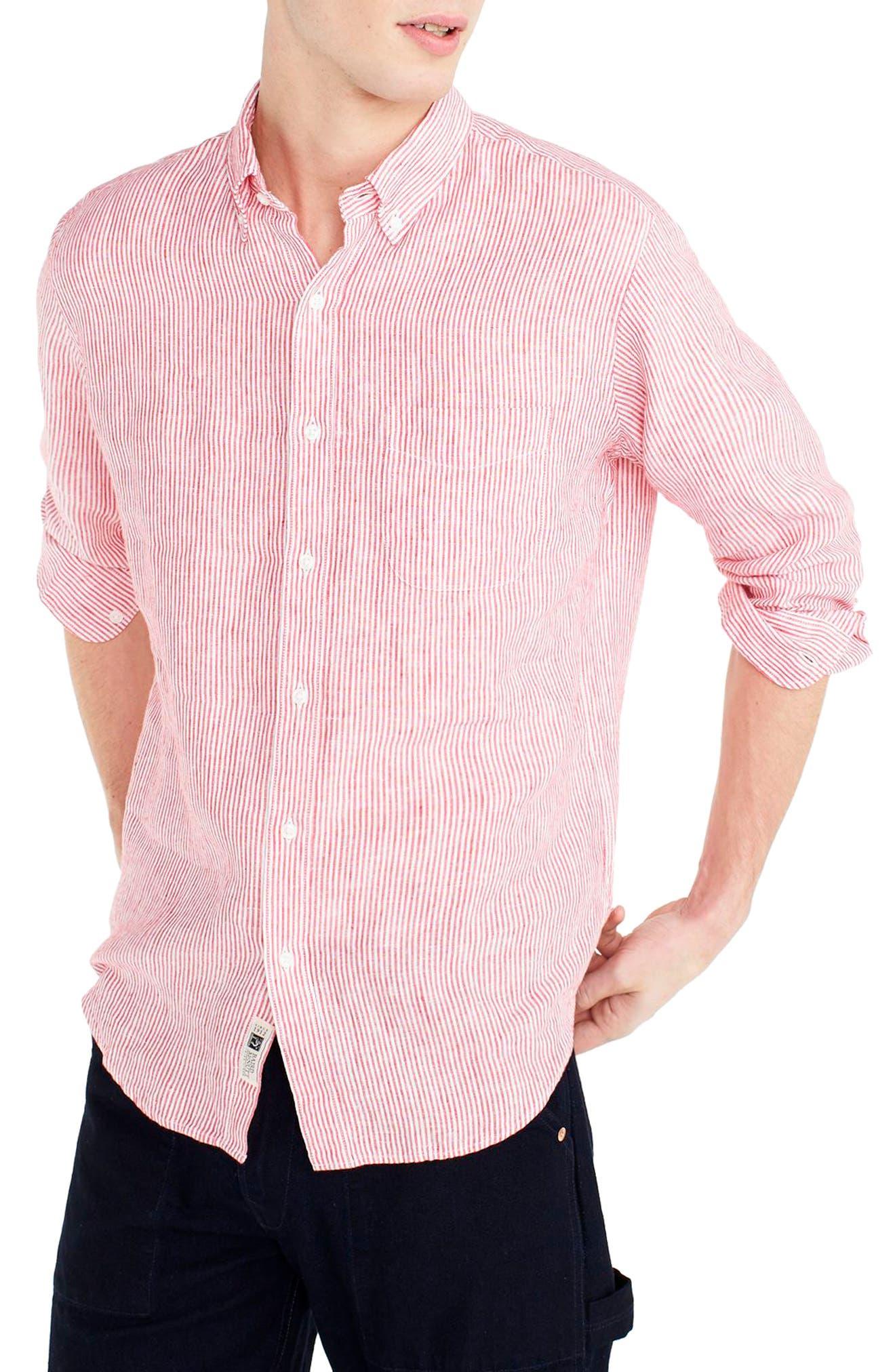 Slim Fit Stripe Irish Linen Shirt,                             Main thumbnail 1, color,                             Engine Red