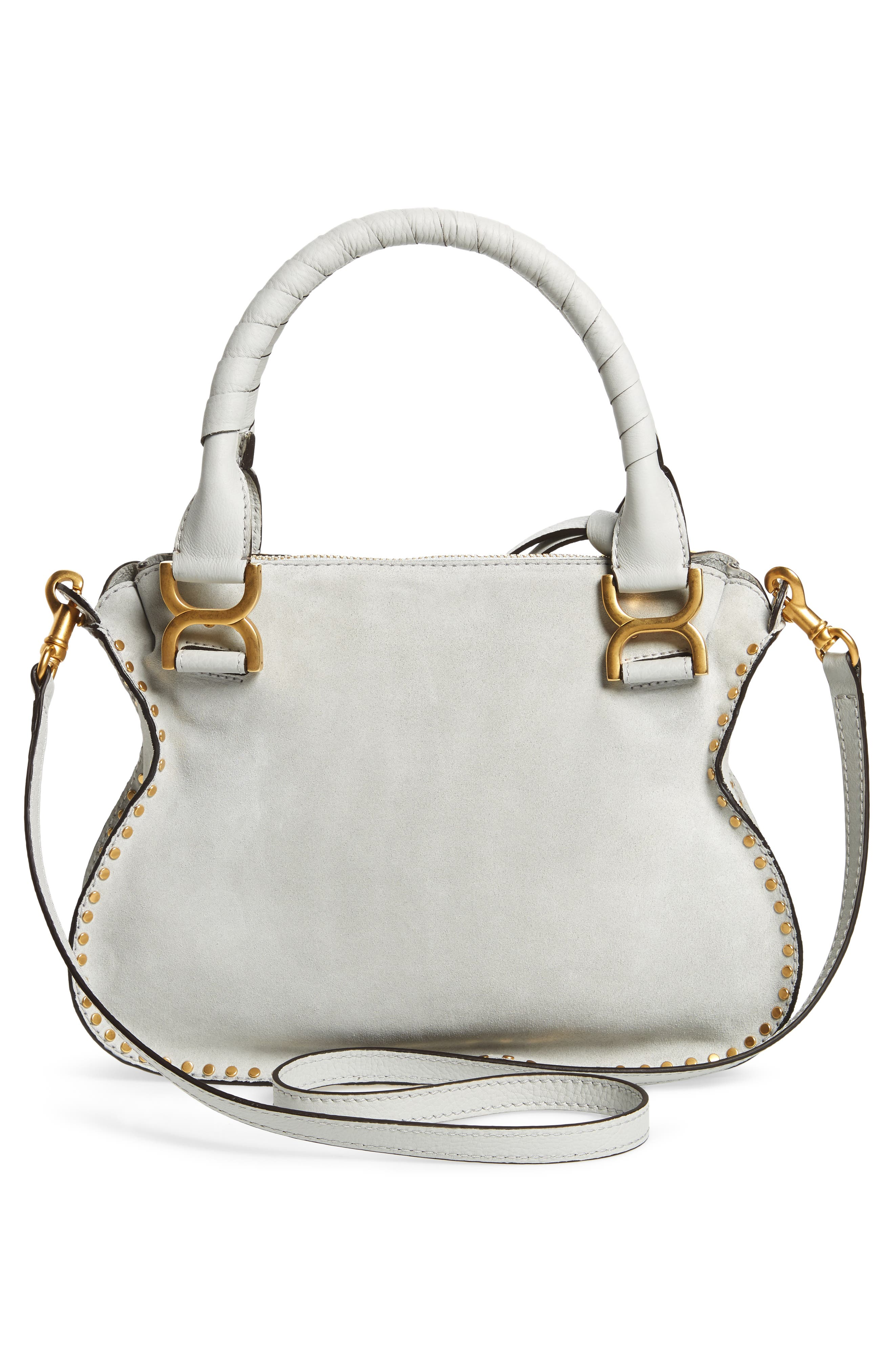 Small Marcie Suede Satchel,                             Alternate thumbnail 3, color,                             Airy Grey