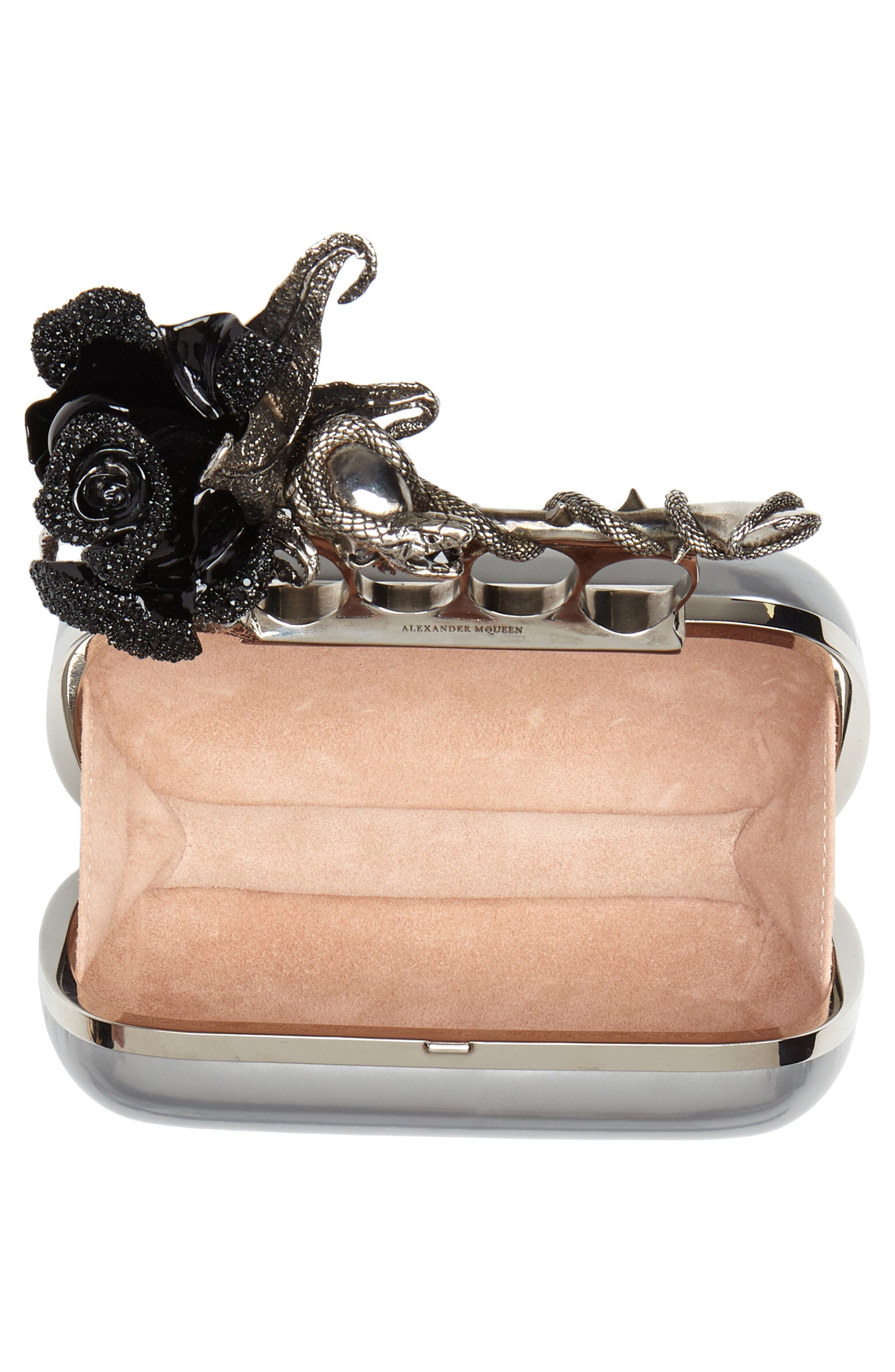 Knuckle Clasp Metallic Leather Box Clutch,                             Alternate thumbnail 4, color,                             Silver