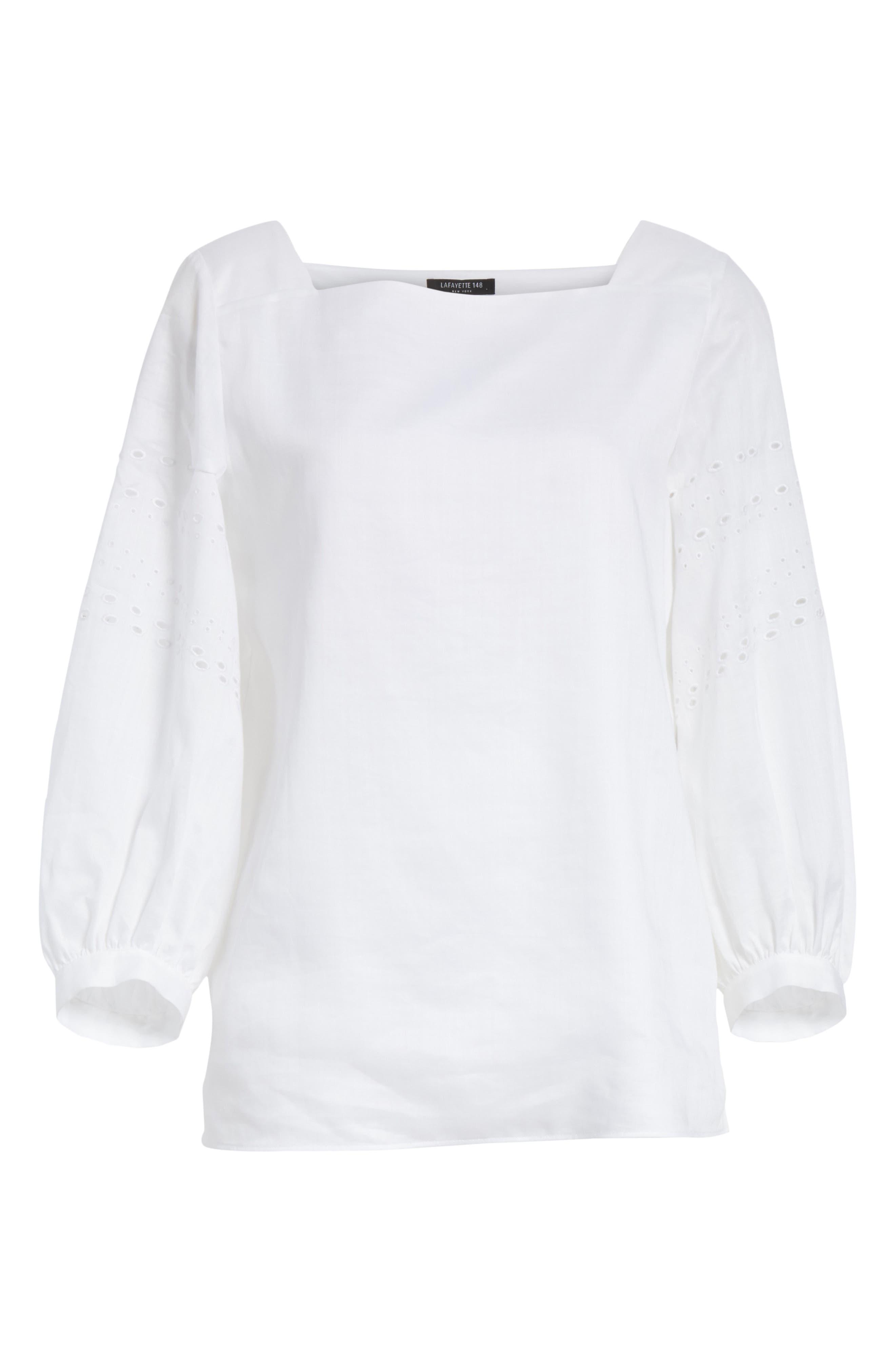 Harper Gemma Cloth Blouse,                             Alternate thumbnail 6, color,                             White