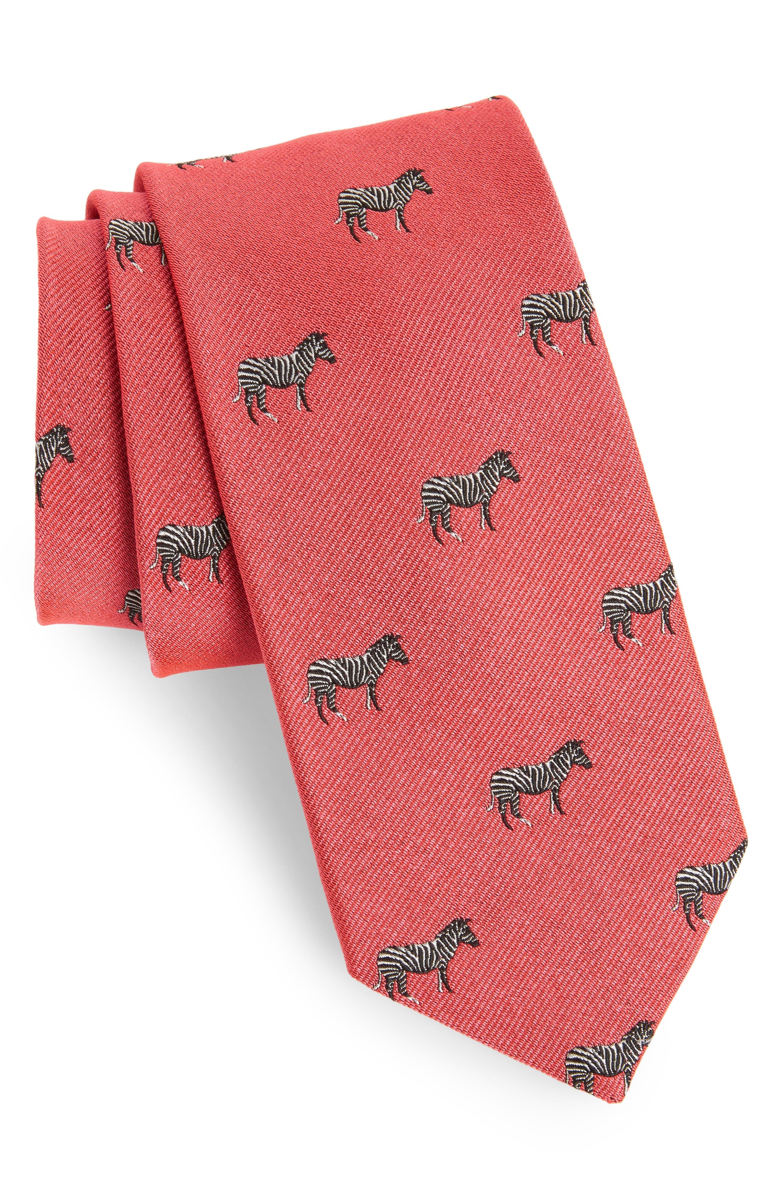 Zebra Dazzle Print Silk Tie,                         Main,                         color, Lifeguard Red