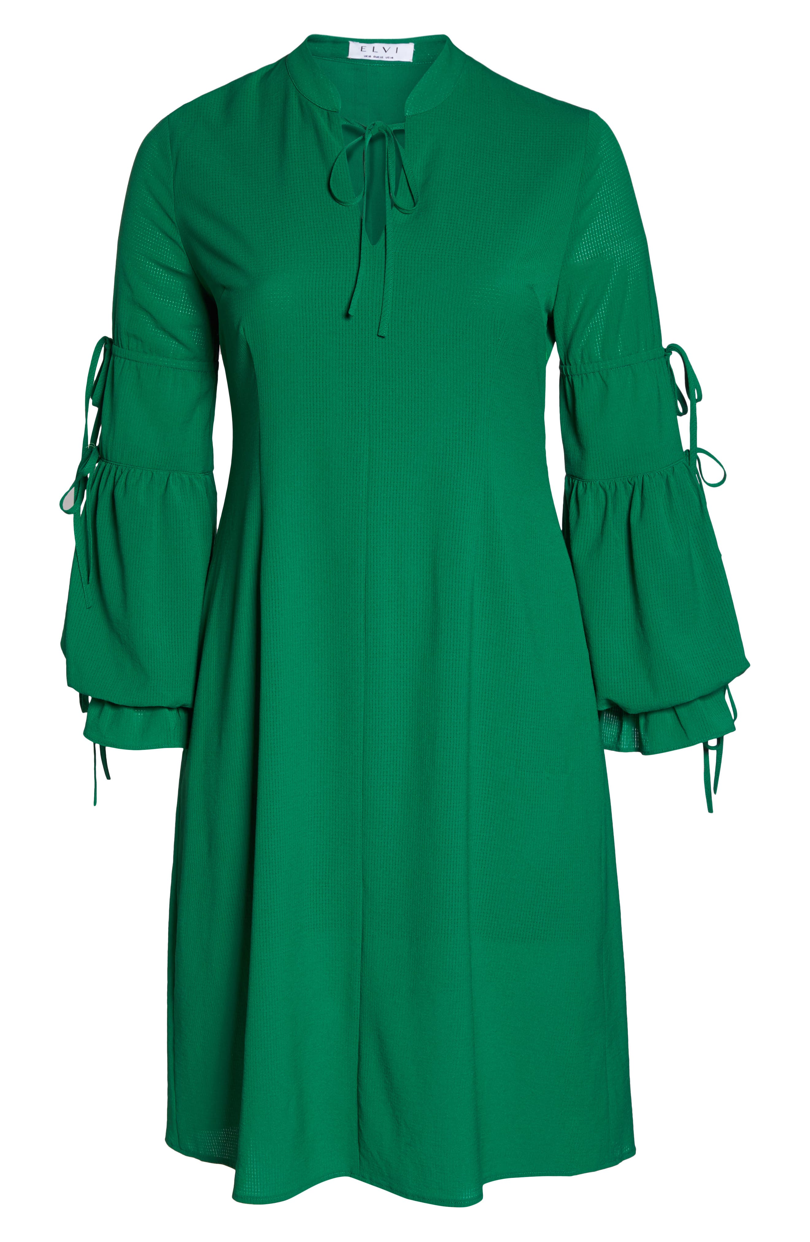 Leiko Antoinette Puff Sleeve Tea Dress,                             Alternate thumbnail 7, color,                             Green