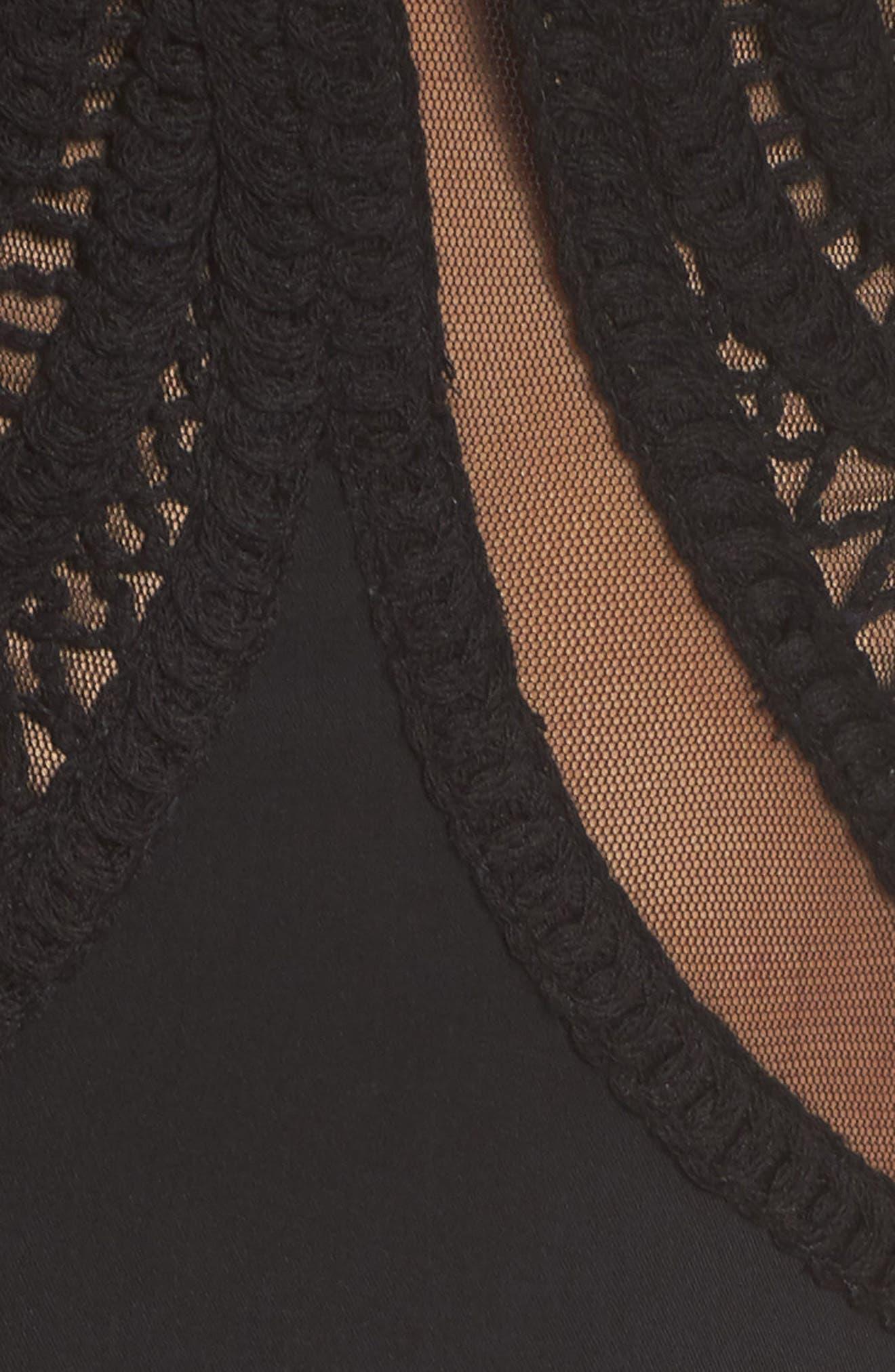 Crochet Lace Gown,                             Alternate thumbnail 5, color,                             Black/ Nude