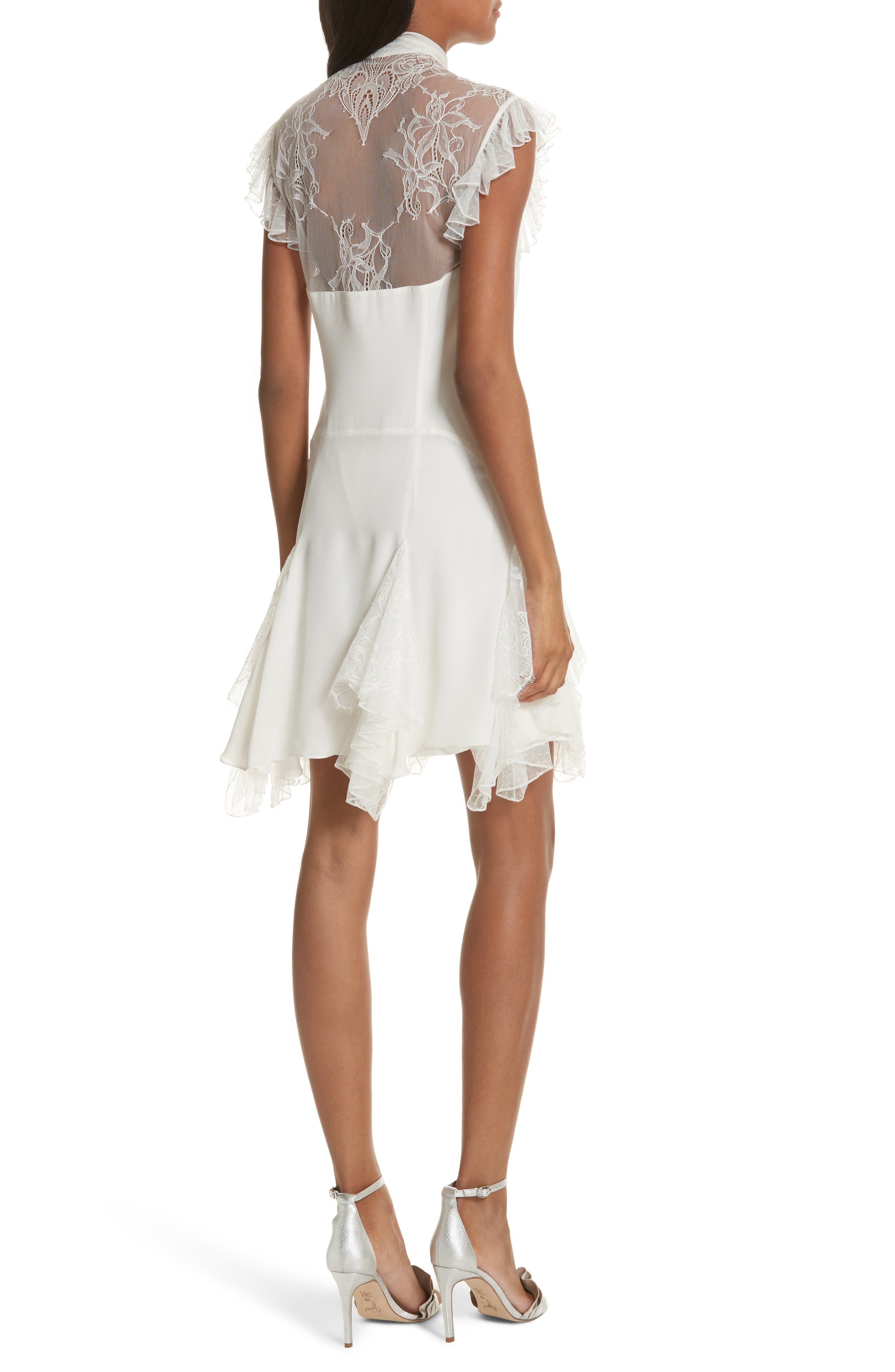 Clotilde Lace Trim Silk Dress with Scarf,                             Alternate thumbnail 2, color,                             Ivory