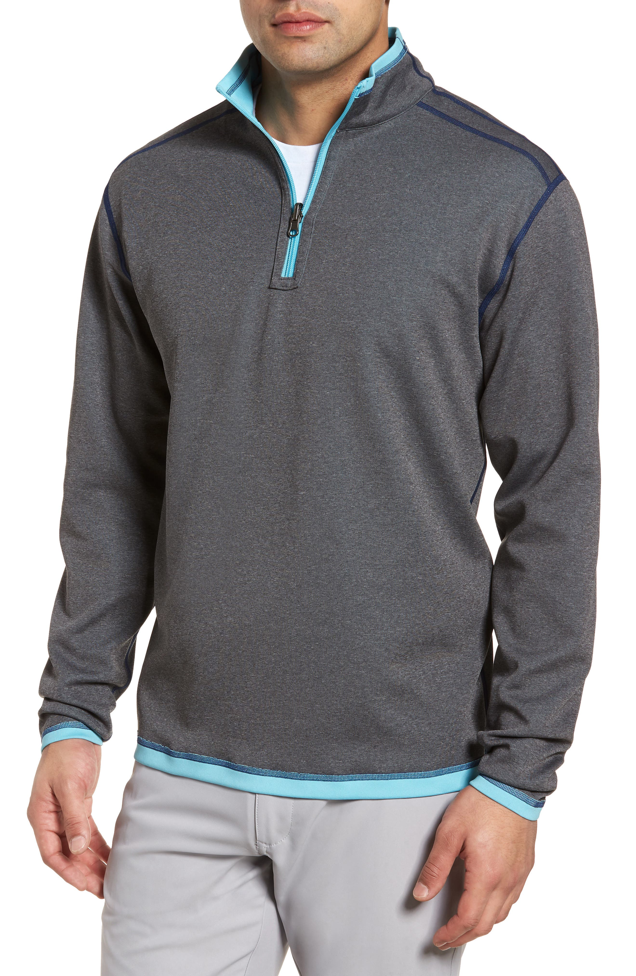 Alternate Image 3  - Cutter & Buck Evergreen Classic Fit DryTec Reversible Half Zip Pullover