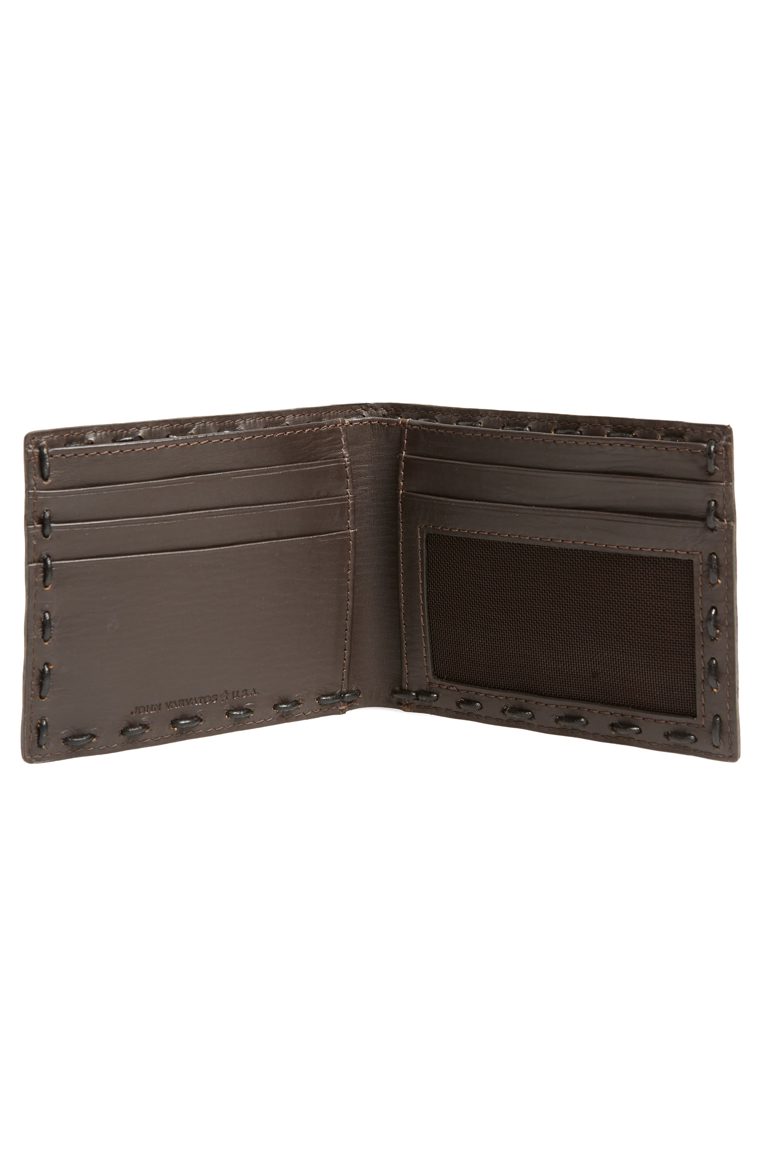 Marble Pickstitched Leather Wallet,                             Alternate thumbnail 2, color,                             Distressed Brown