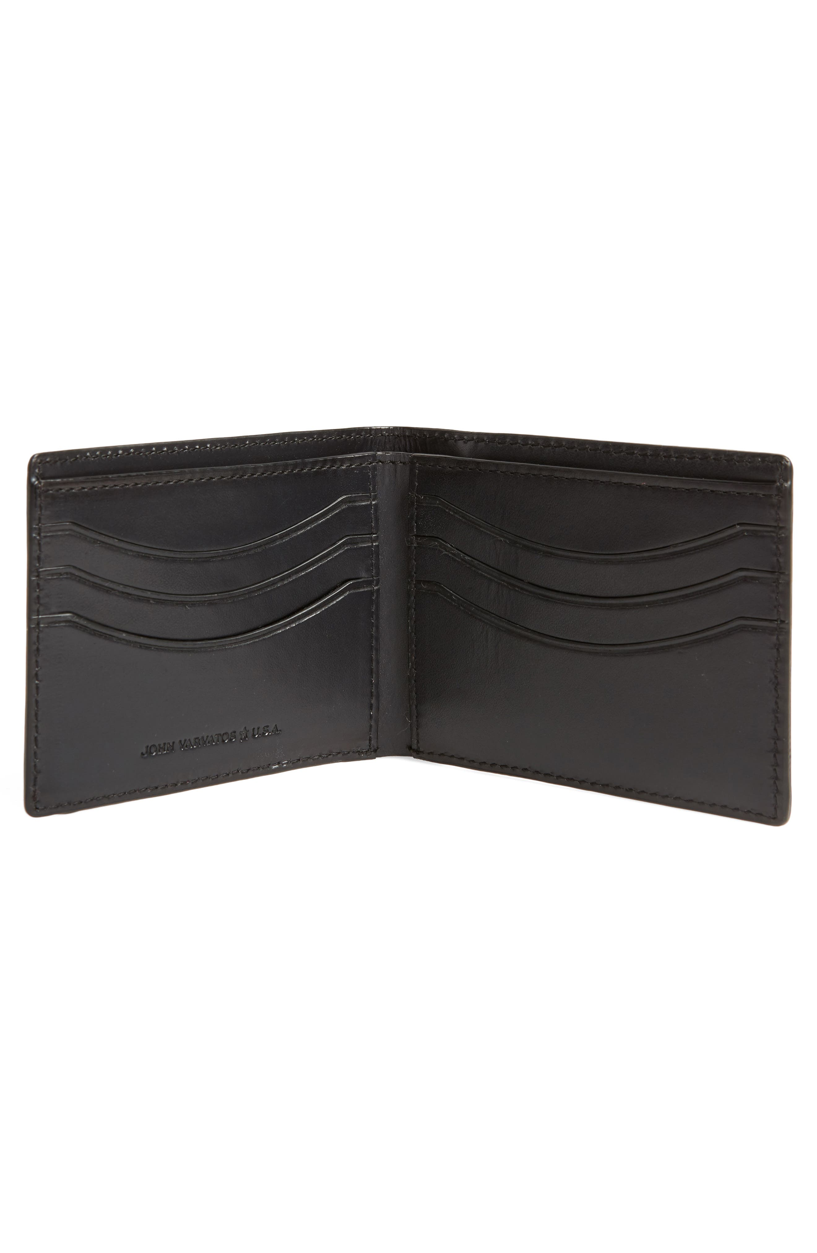 Bifold Leather Wallet,                             Alternate thumbnail 2, color,                             Black