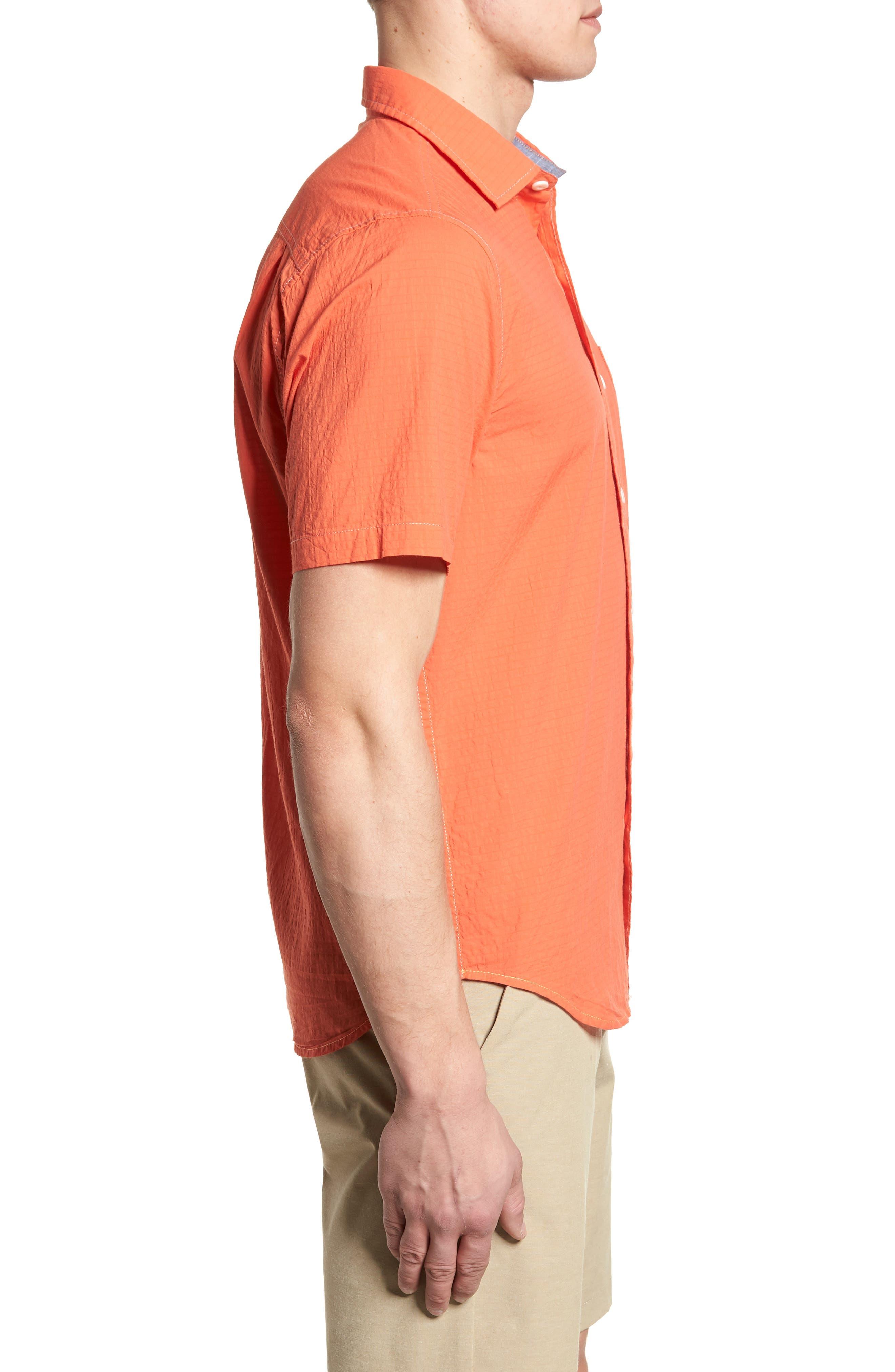 The Salvatore Standard Fit Sport Shirt,                             Alternate thumbnail 4, color,                             Burnt Coral