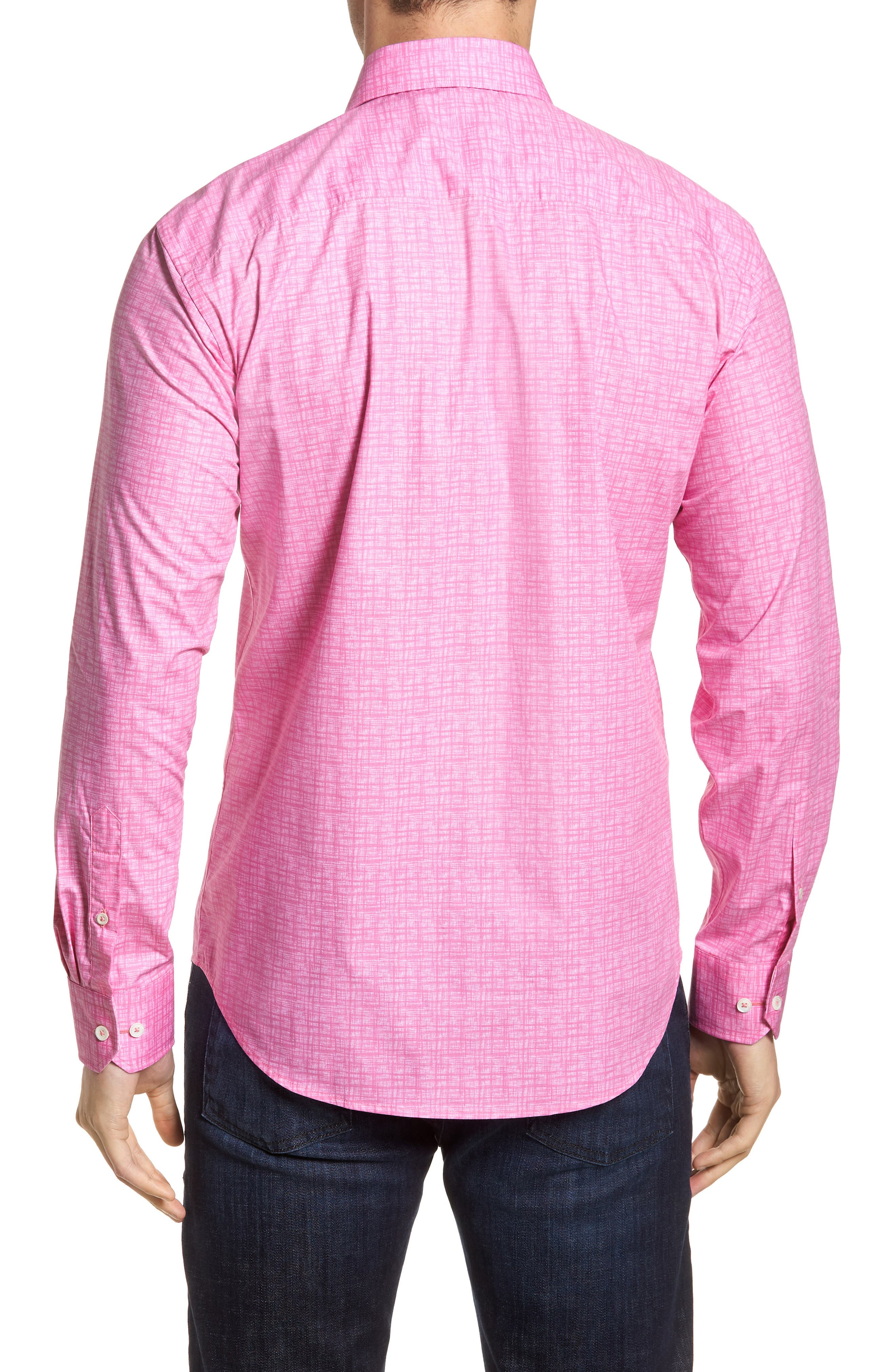 Freehand Shaped Fit Sport Shirt,                             Alternate thumbnail 8, color,                             Pink