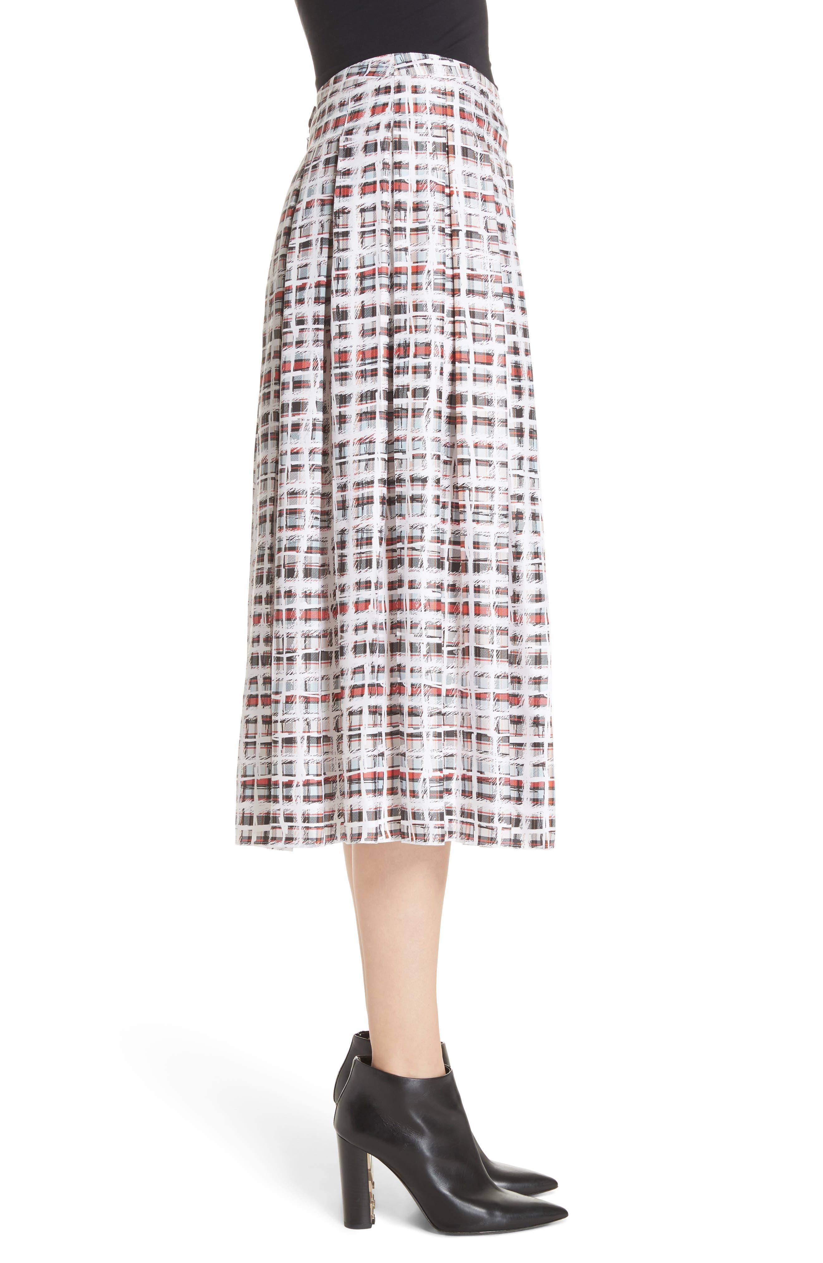 Farnborough Pleated Check Silk Midi Skirt,                             Alternate thumbnail 3, color,                             Cadmium Red