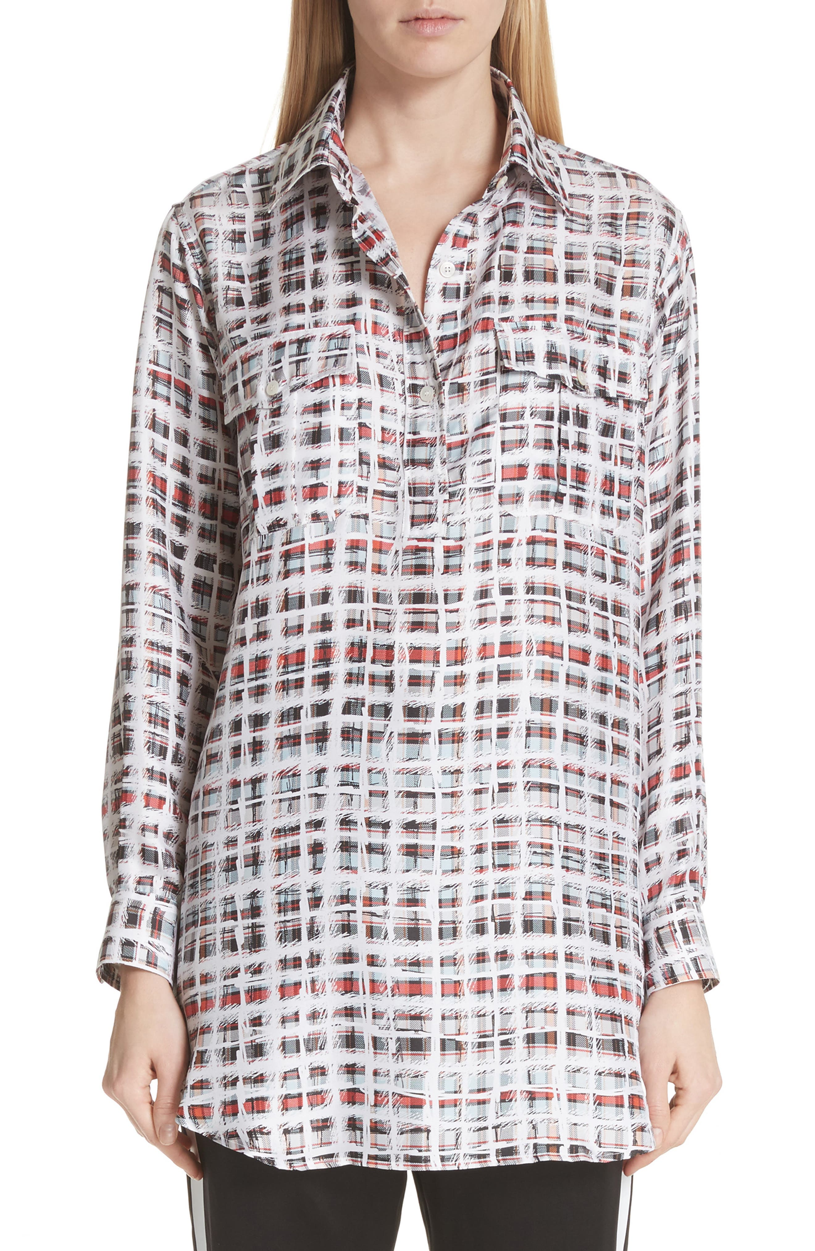 Sirena Scribble Check Silk Shirt,                         Main,                         color, Cadmium Red