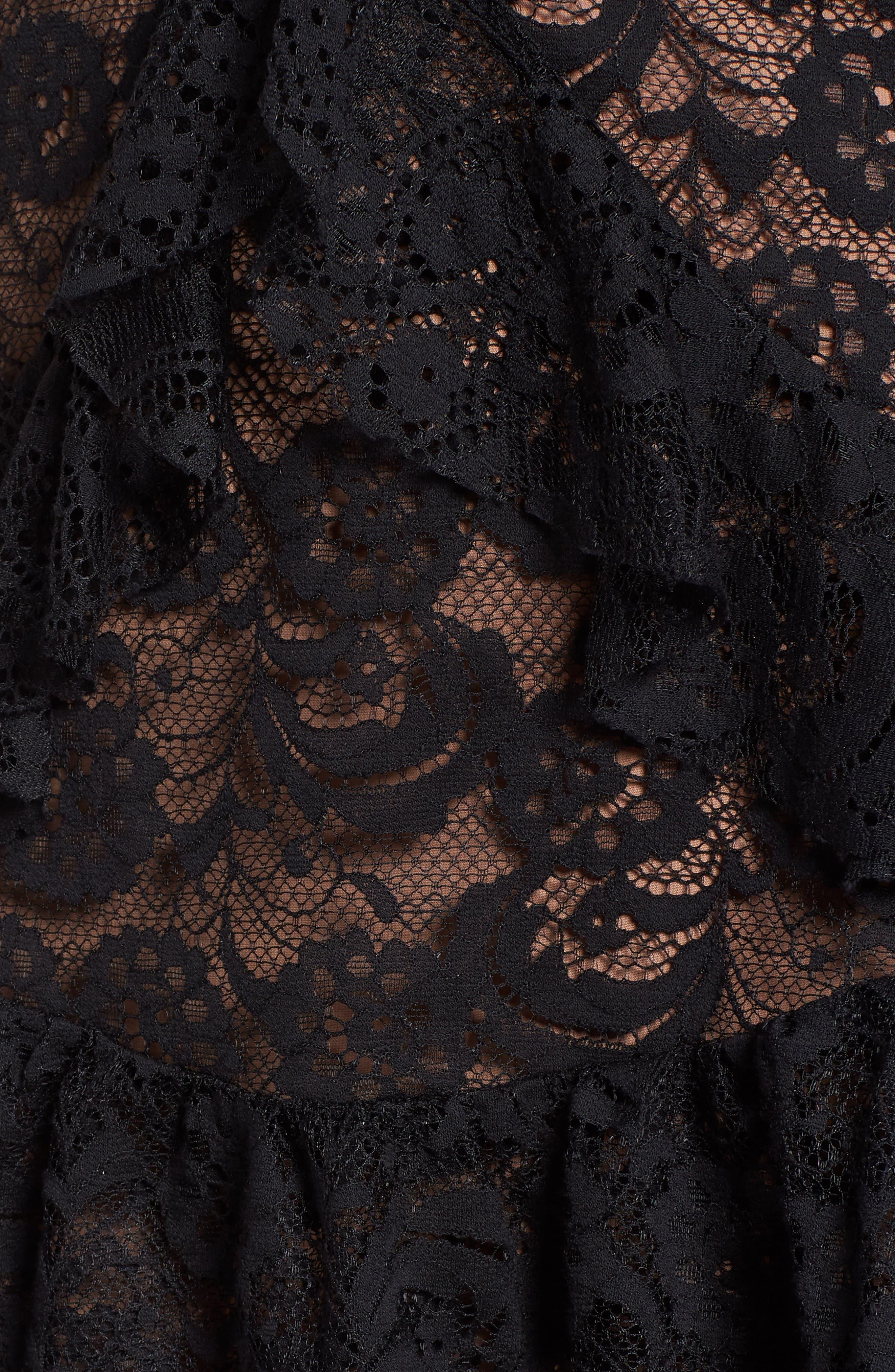 Tati Lace Minidress,                             Alternate thumbnail 5, color,                             Black