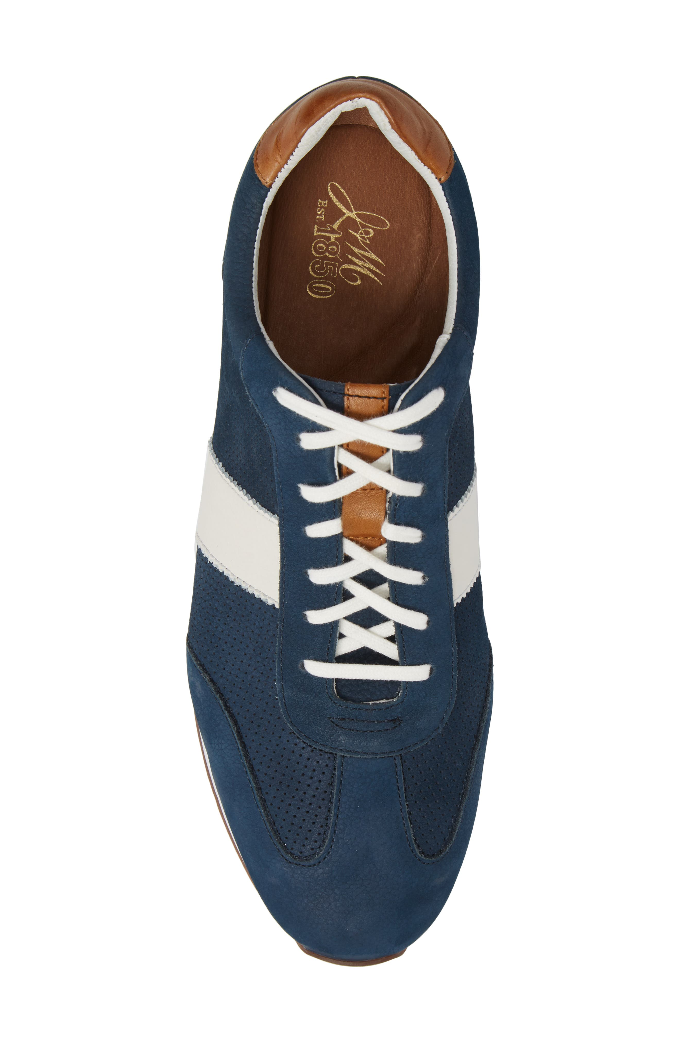 Malek Perforated Low Top Sneaker,                             Alternate thumbnail 5, color,                             Navy Nubuck Leather