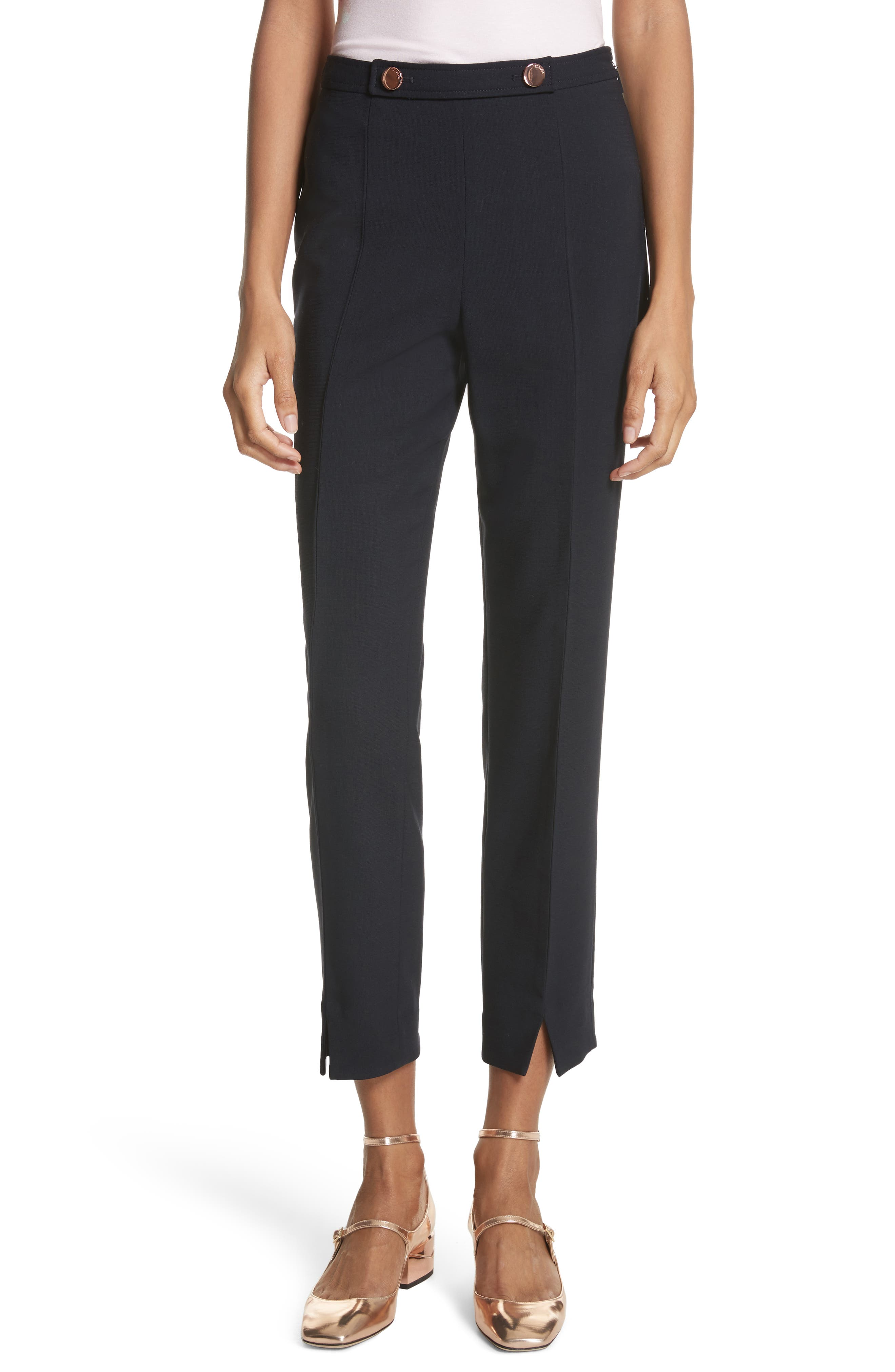 Front Slit Skinny Trousers,                             Main thumbnail 1, color,                             Navy