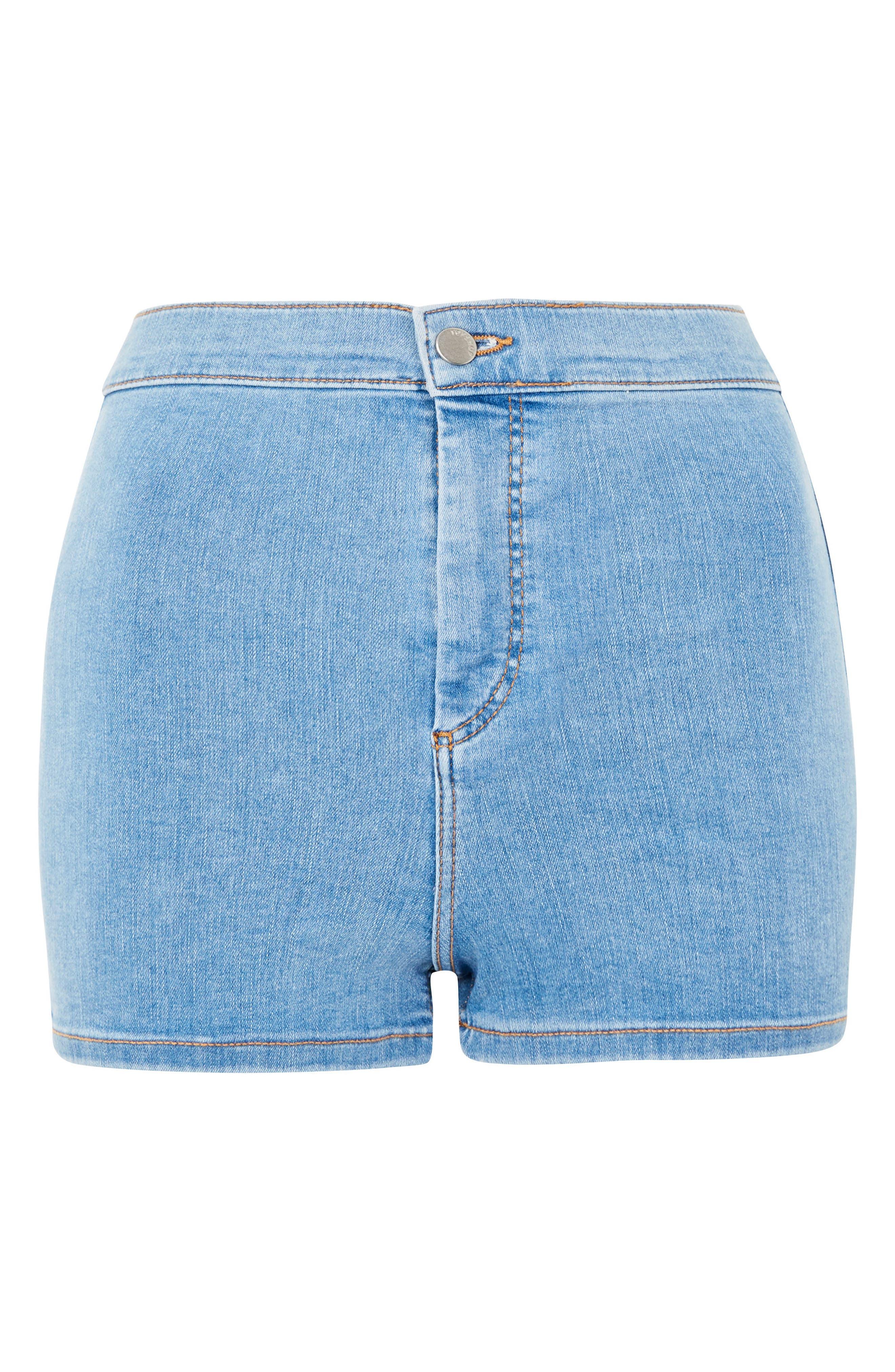 Joni Light Denim High Waist Shorts,                             Alternate thumbnail 4, color,                             Light Denim