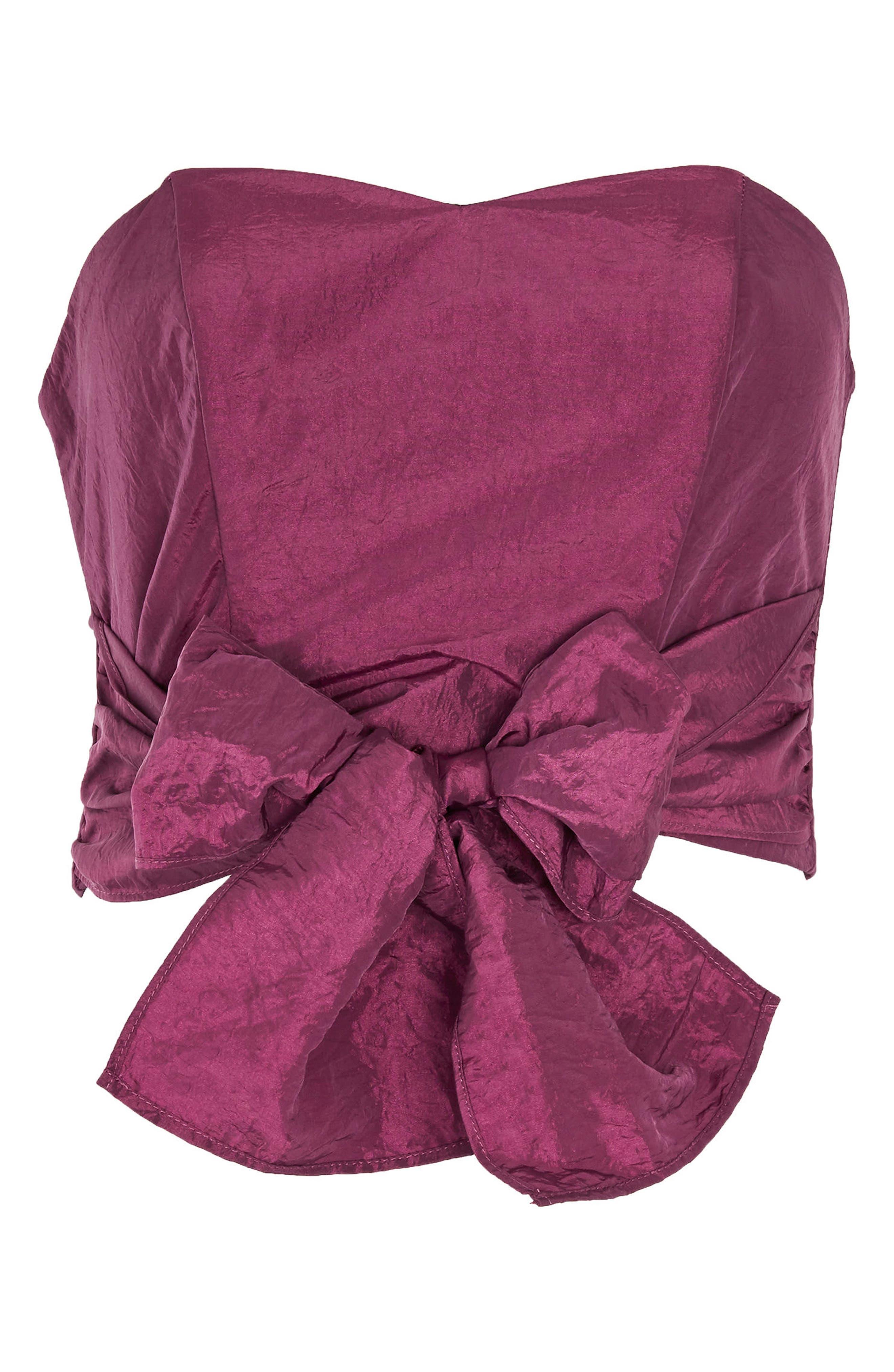 Taffeta Sweetheart Bandeau Tie Blouse,                             Alternate thumbnail 4, color,                             Raspberry