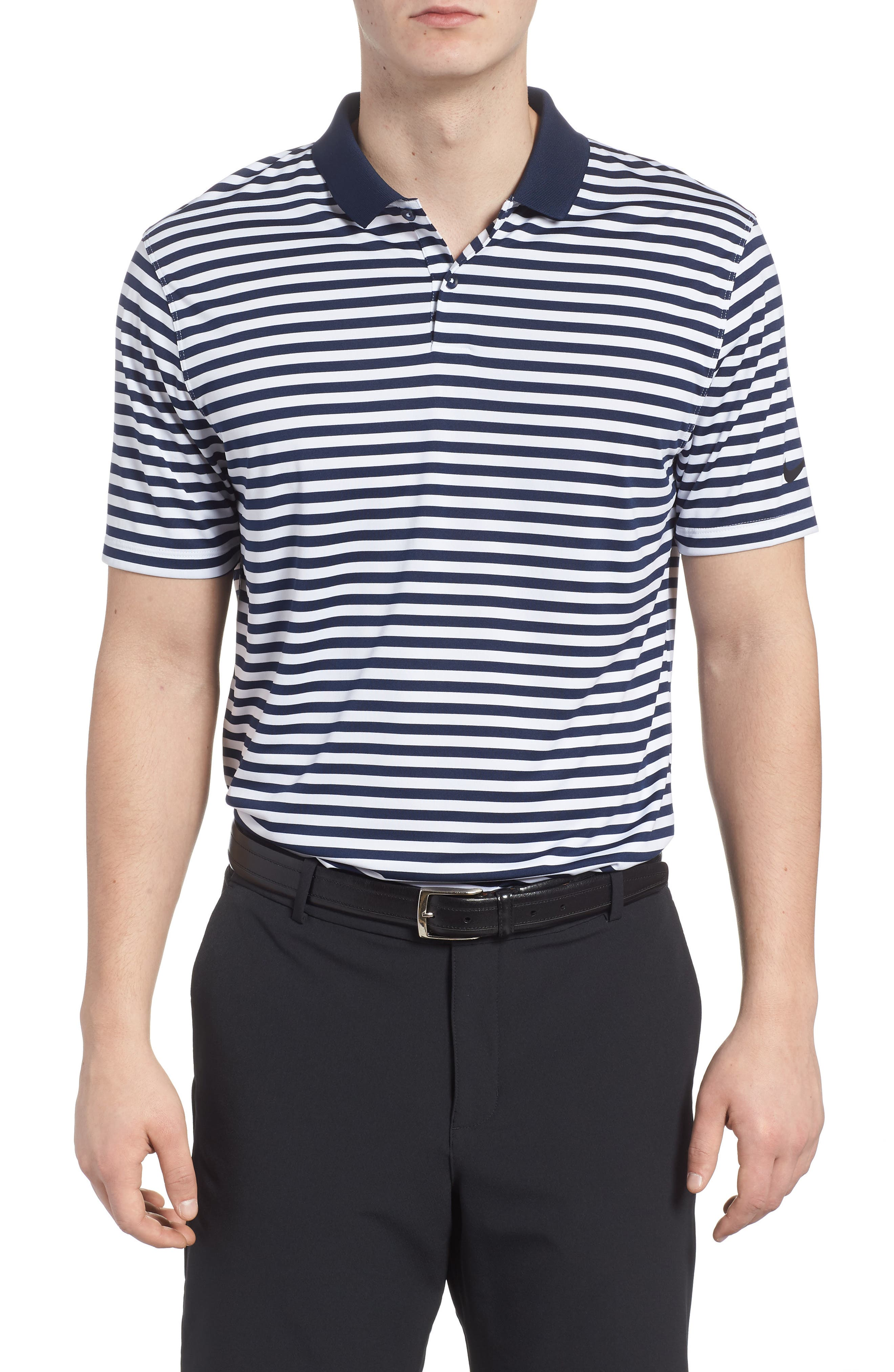 Dry Victory Stripe Golf Polo,                             Main thumbnail 1, color,                             College Navy/ White/ Black