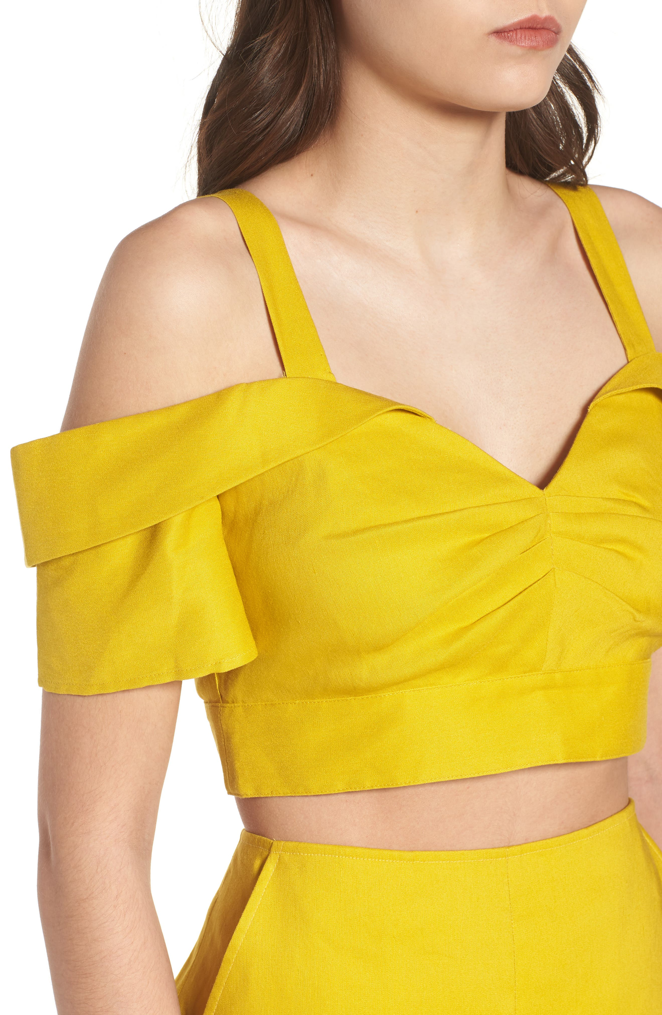 Cold Shoulder Crop Top,                             Alternate thumbnail 3, color,                             Yellow Tea
