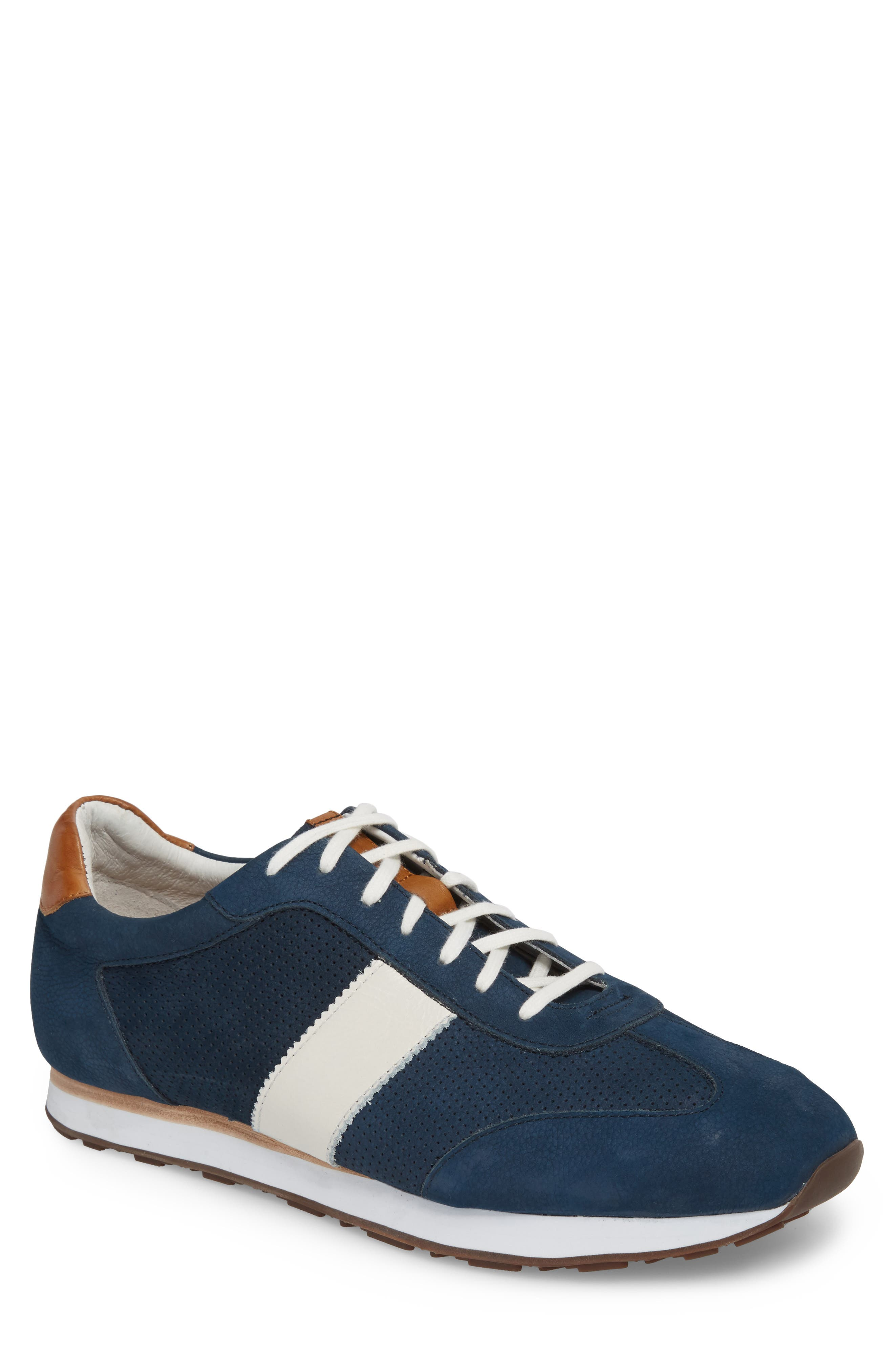 Malek Perforated Low Top Sneaker,                         Main,                         color, Navy Nubuck Leather