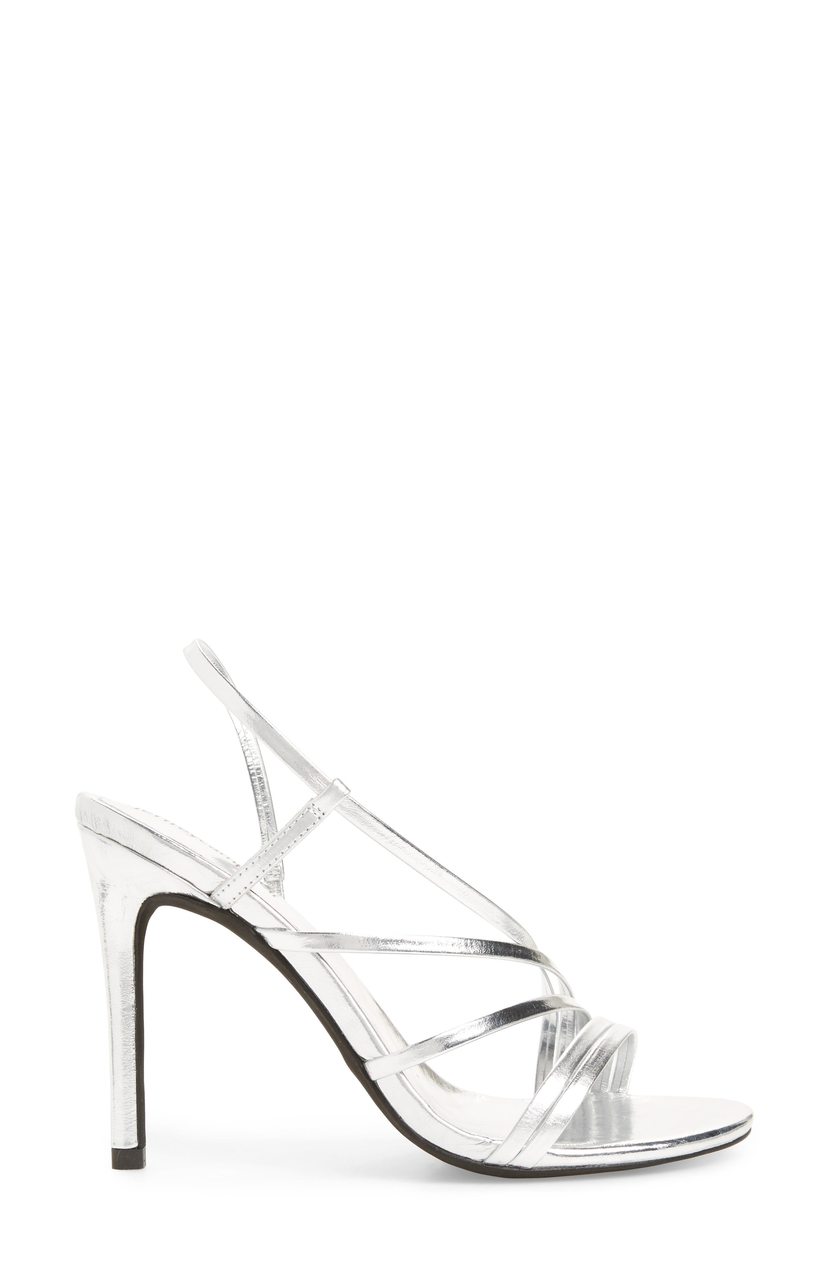 Lilian Asymmetrical Strappy Sandal,                             Alternate thumbnail 3, color,                             Silver Leather
