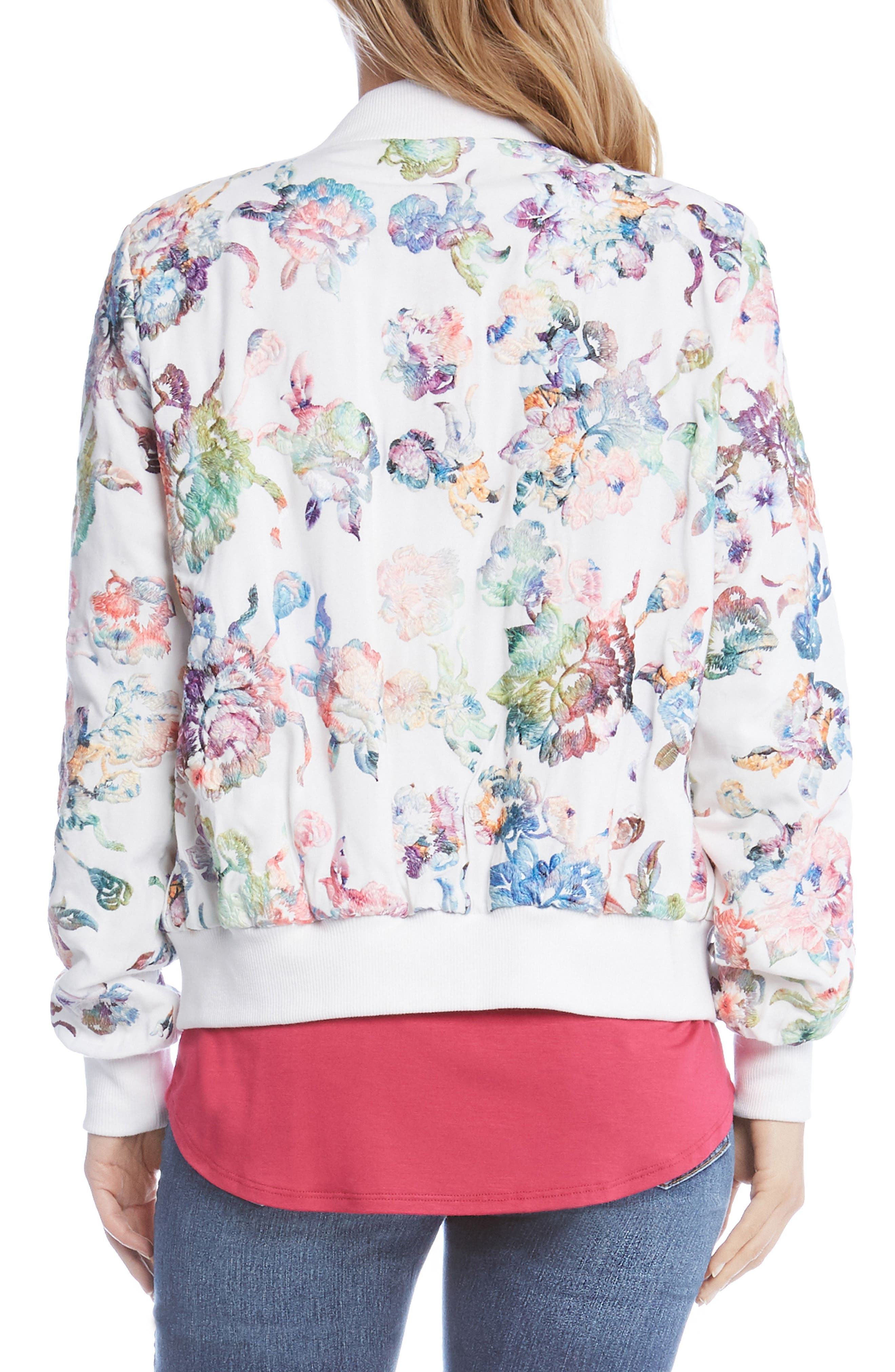 Embroidered Floral Bomber Jacket,                             Alternate thumbnail 3, color,                             Multi-Colored