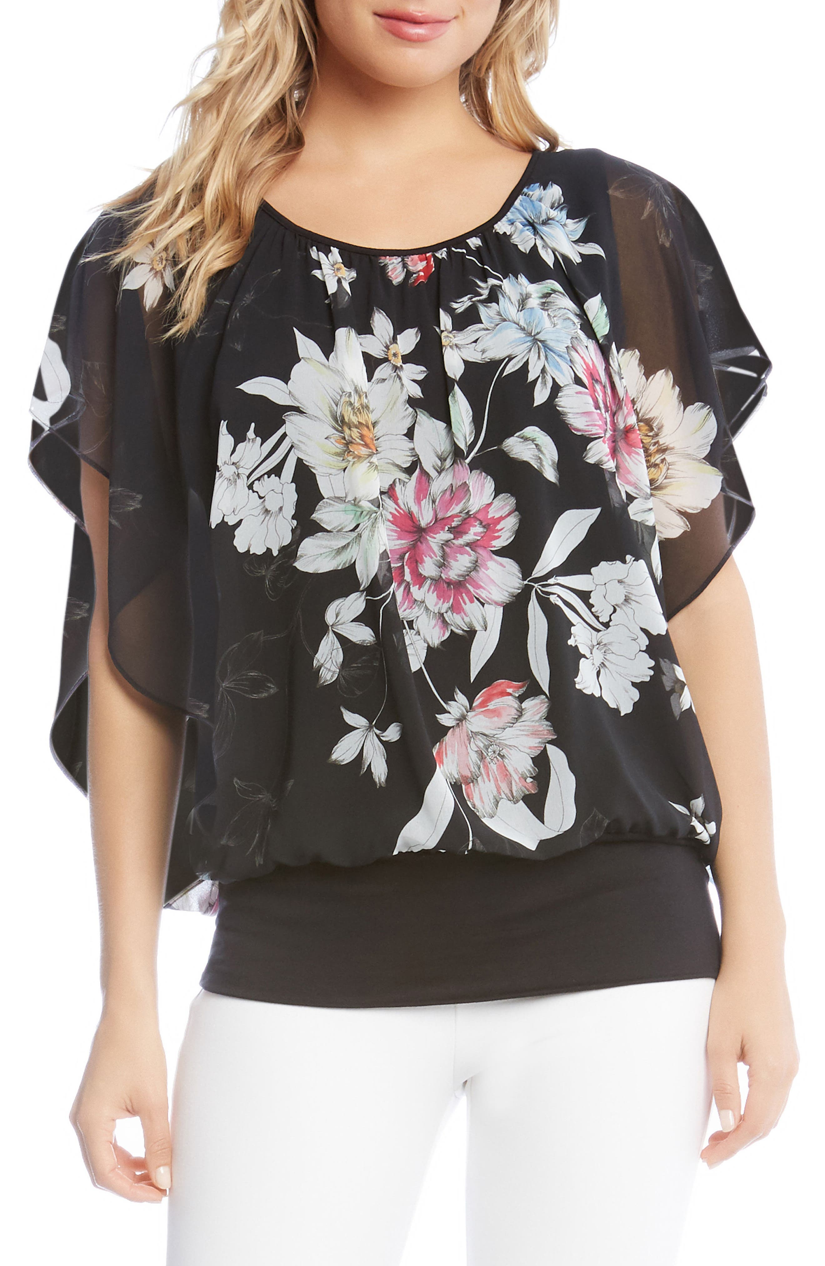 Cascade Statement Sleeve Top,                         Main,                         color, Print