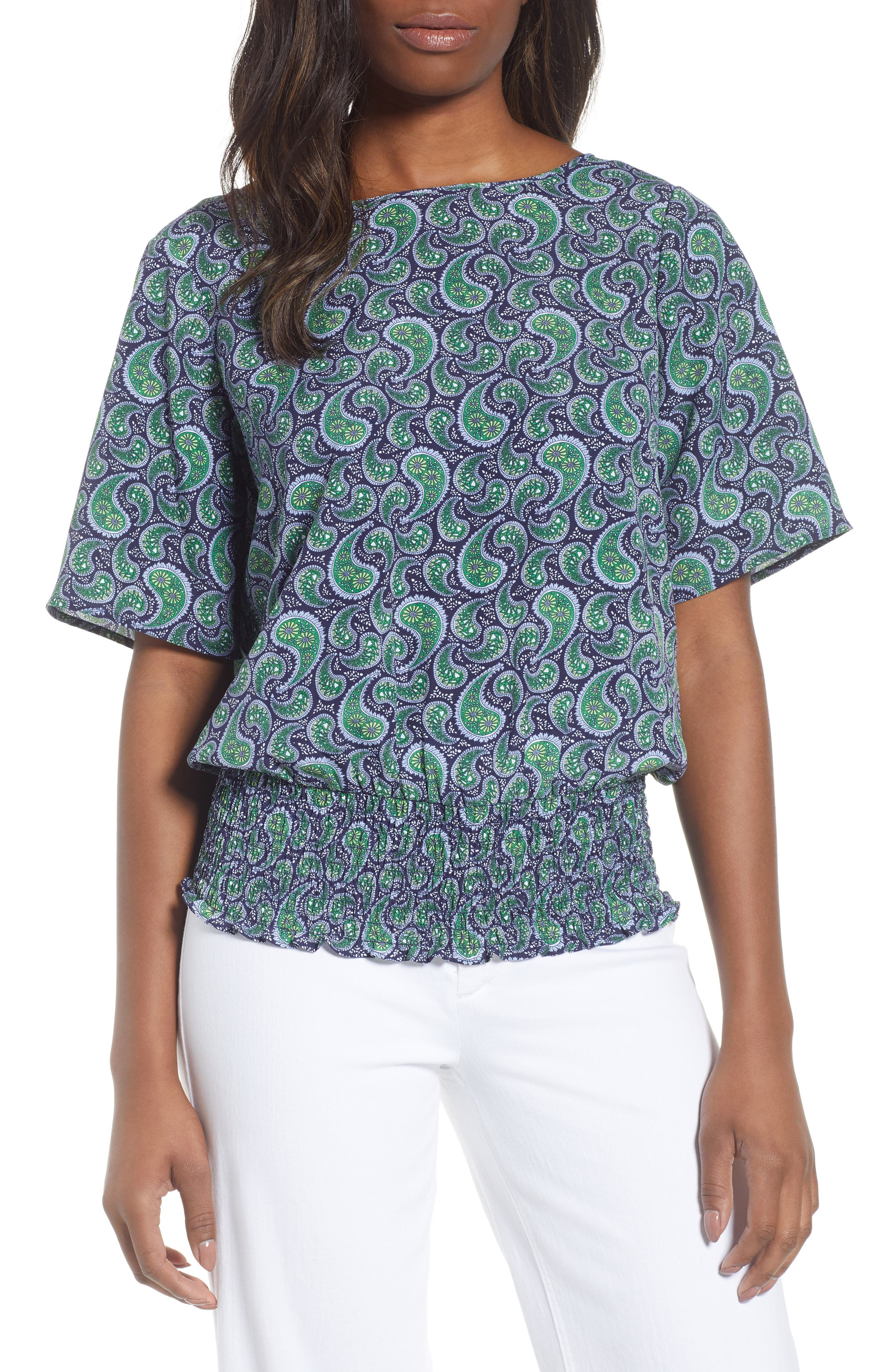 Kimono Sleeve Paisley Top,                         Main,                         color, True Navy/Green Apple Mu