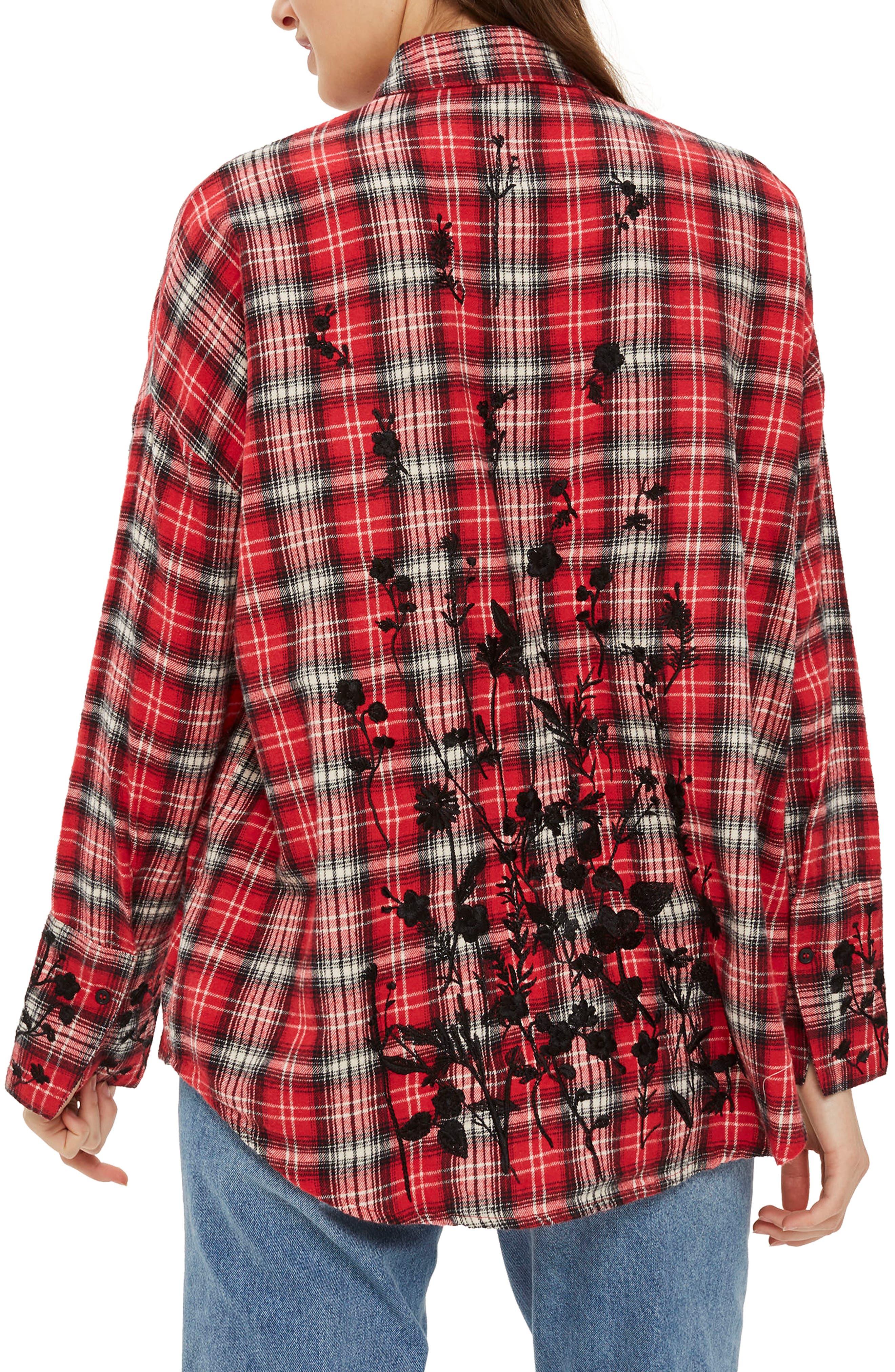 Falling Floral Plaid Shirt,                             Alternate thumbnail 2, color,                             Red Multi