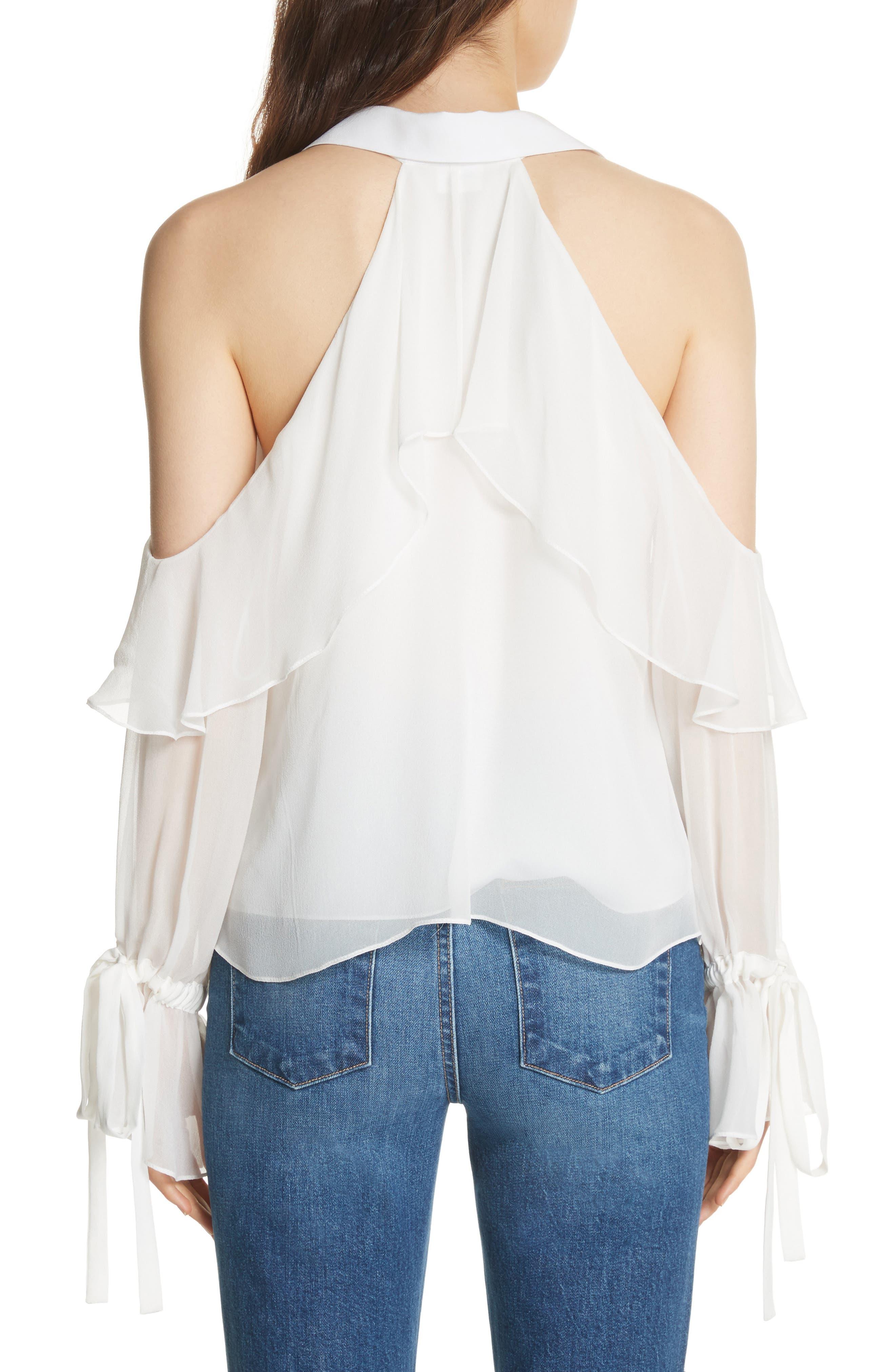 Blayne Cold Shoulder Silk Blouse,                             Alternate thumbnail 2, color,                             Off White
