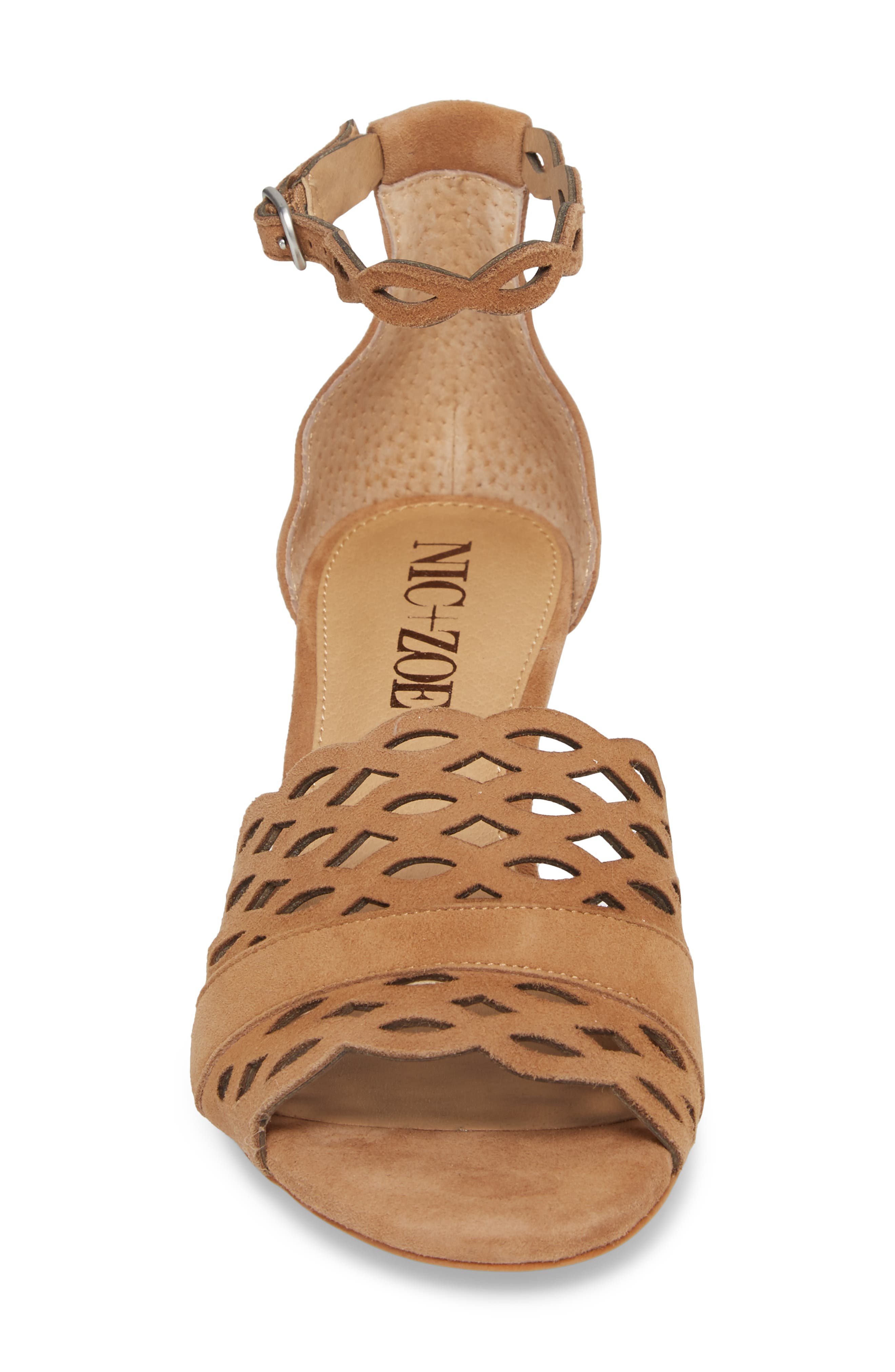 Flora Wedge Sandal,                             Alternate thumbnail 4, color,                             Fawn Leather