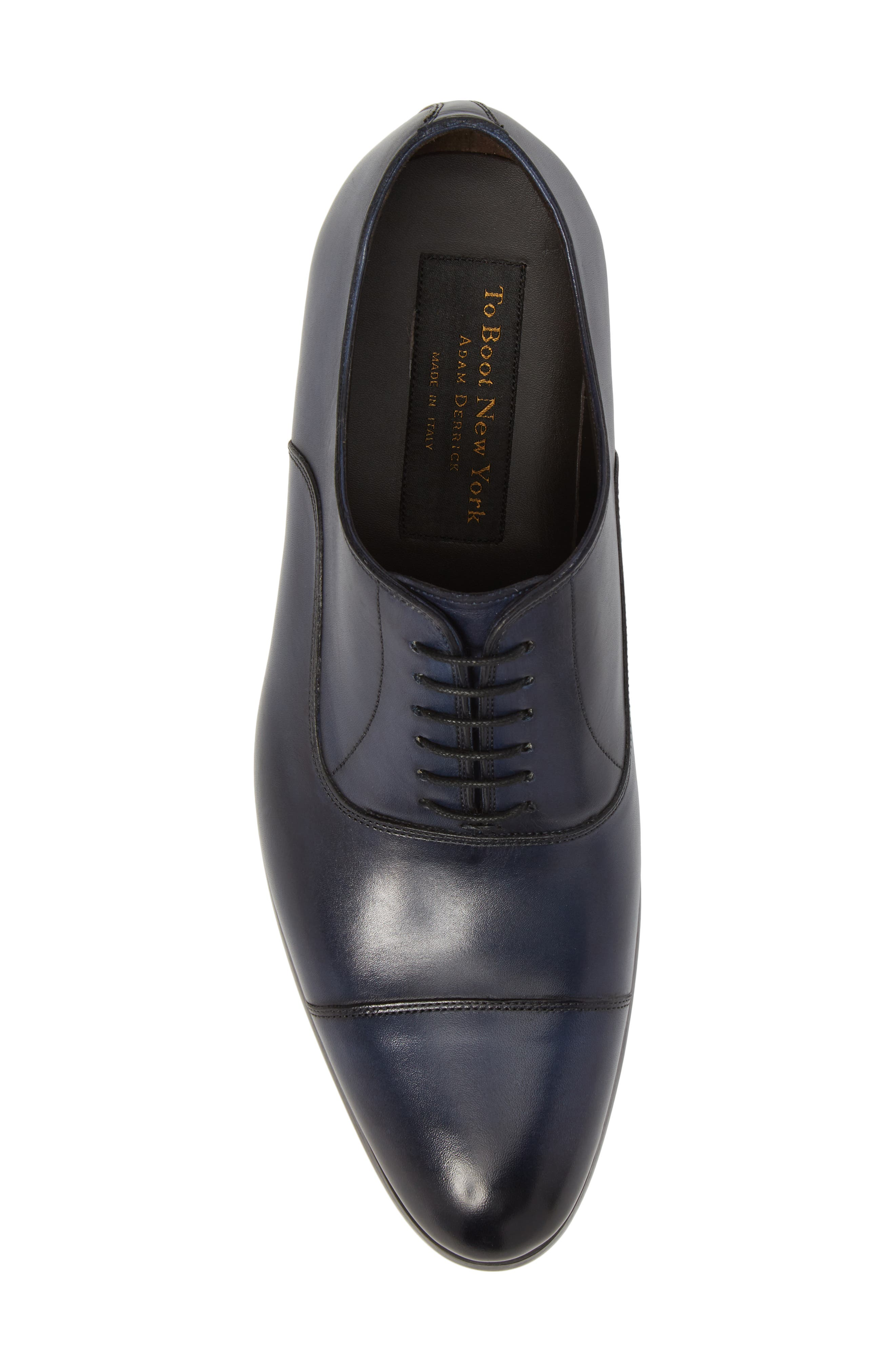 Hartcourt Cap Toe Oxford,                             Alternate thumbnail 5, color,                             Blue Leather