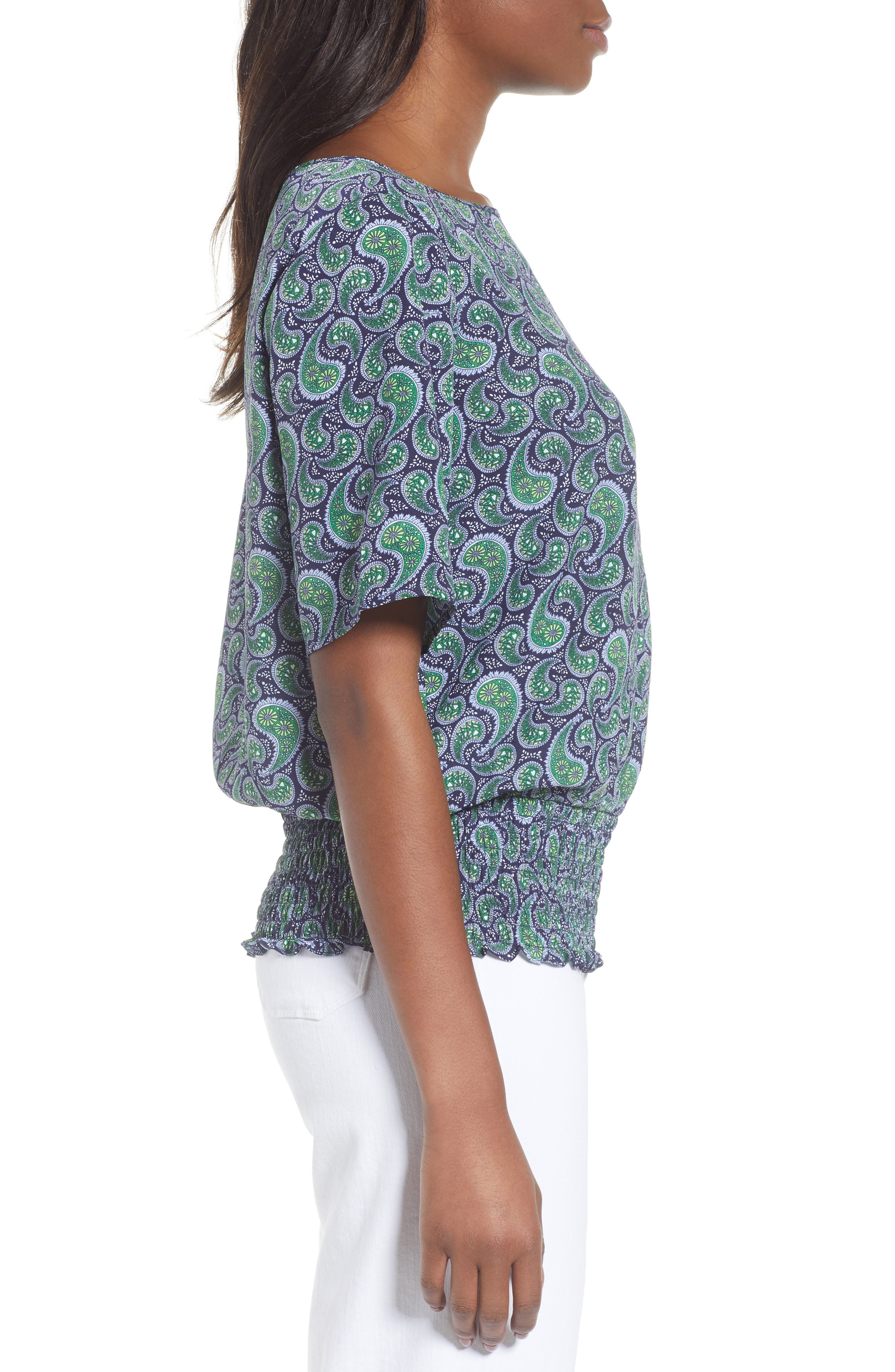 Kimono Sleeve Paisley Top,                             Alternate thumbnail 3, color,                             True Navy/Green Apple Mu