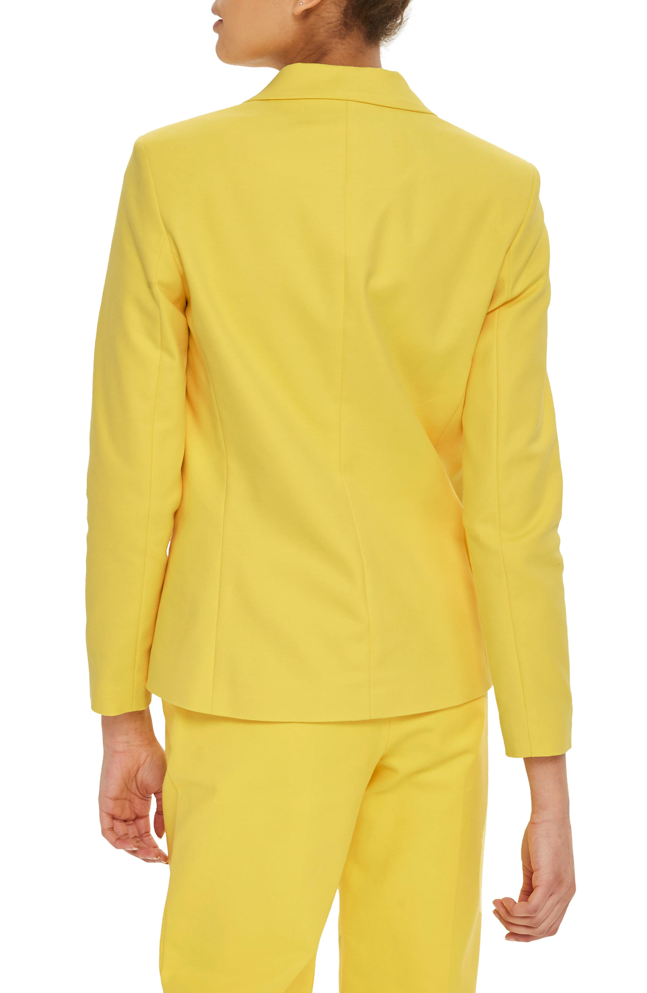 Milly Double Breasted Suit Jacket,                             Alternate thumbnail 3, color,                             Yellow