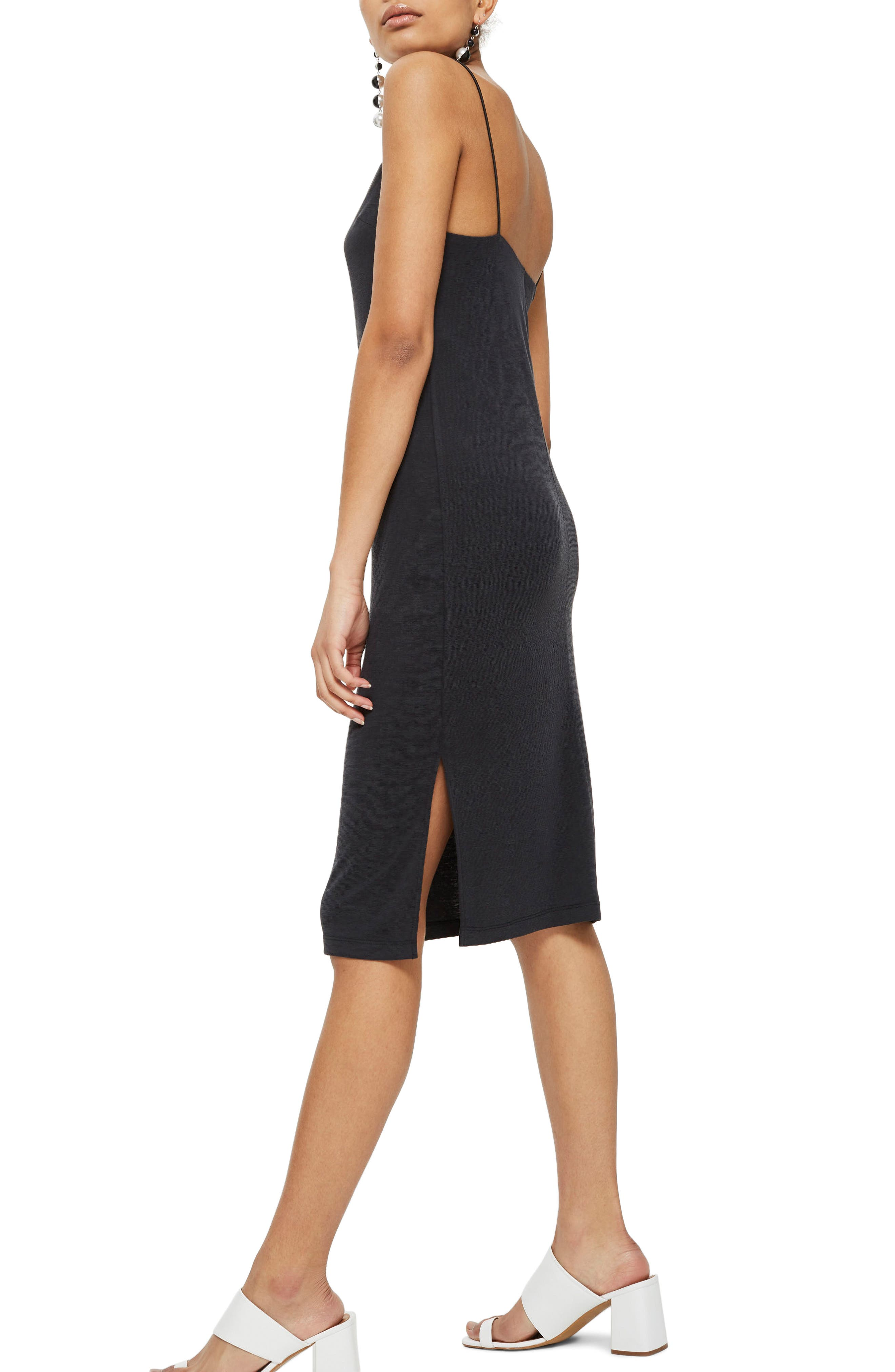 Square Neck Slipdress,                             Alternate thumbnail 2, color,                             Black