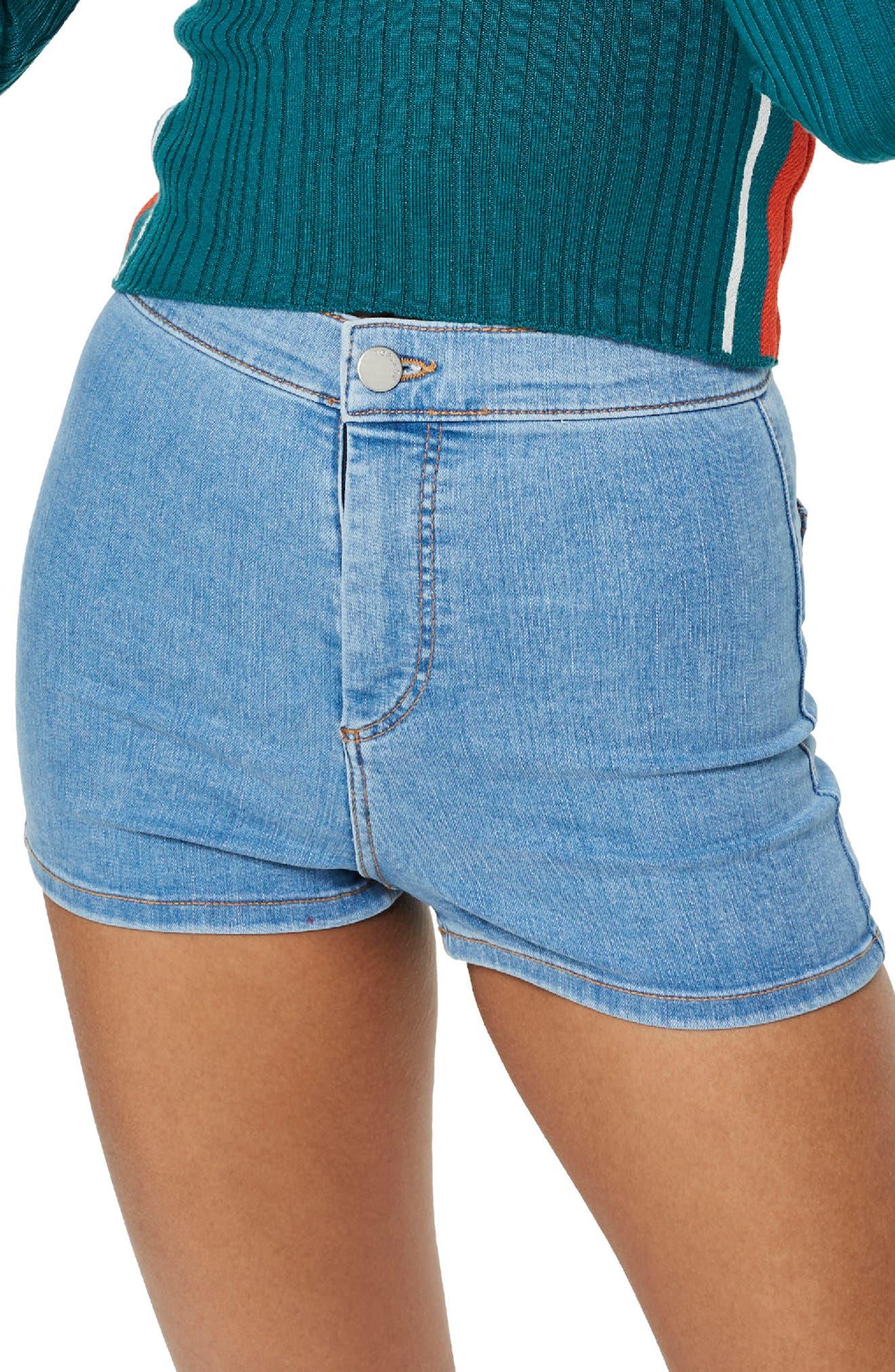 Main Image - Topshop Joni Light Denim High Waist Shorts