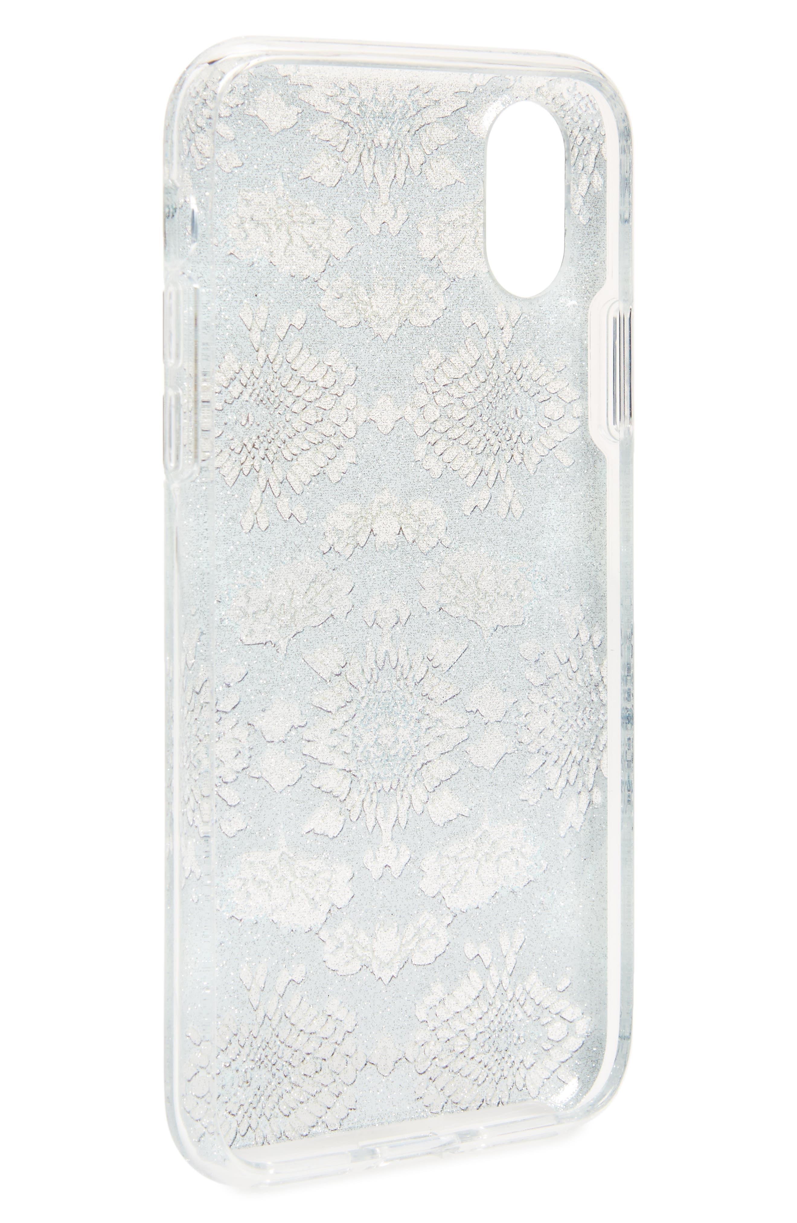 Glitter Snake Print iPhone X Case,                             Alternate thumbnail 2, color,                             Multi Glitter