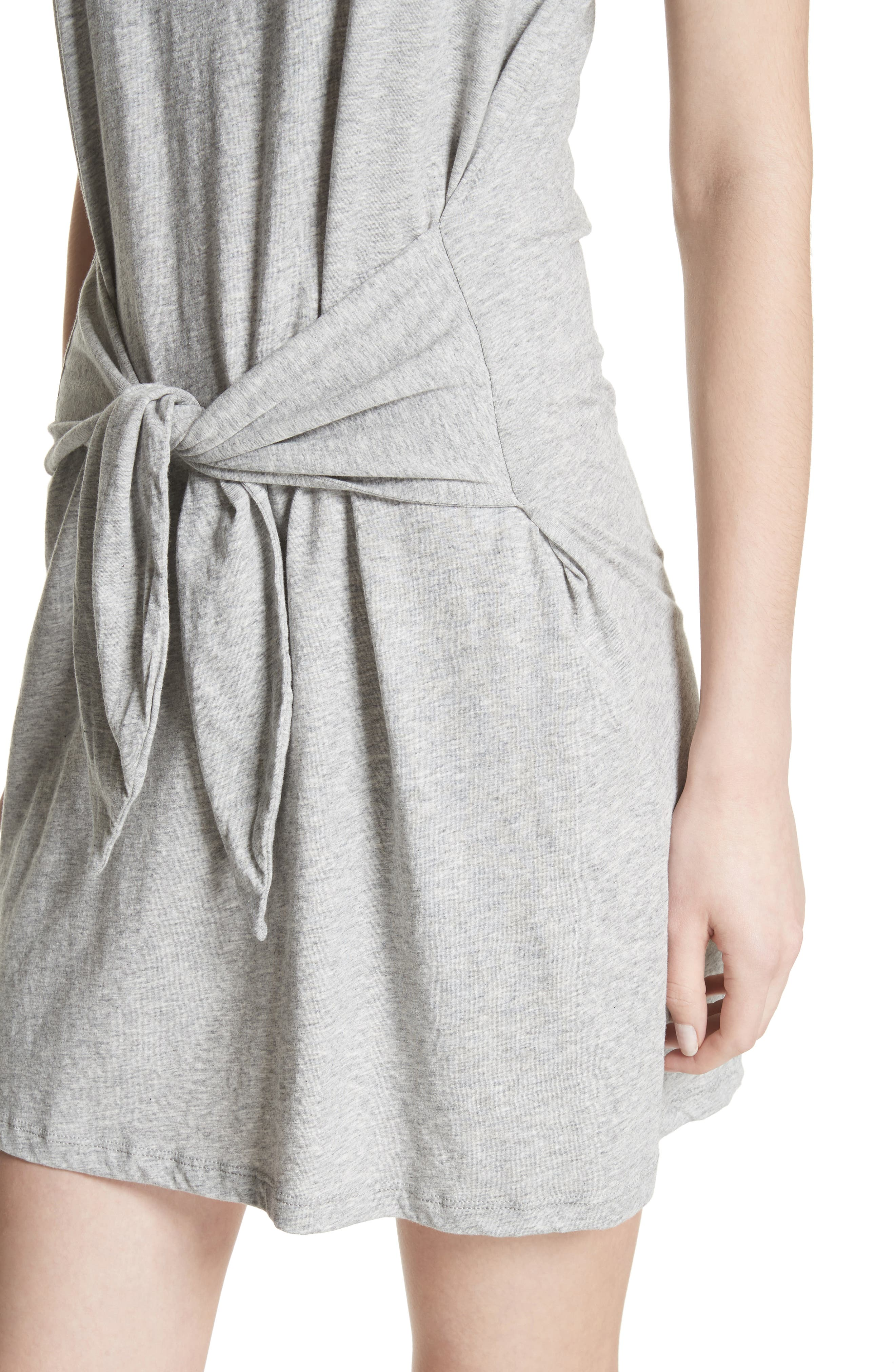 Alyra Tie Waist Cotton T-Shirt Dress,                             Alternate thumbnail 4, color,                             Heather Grey