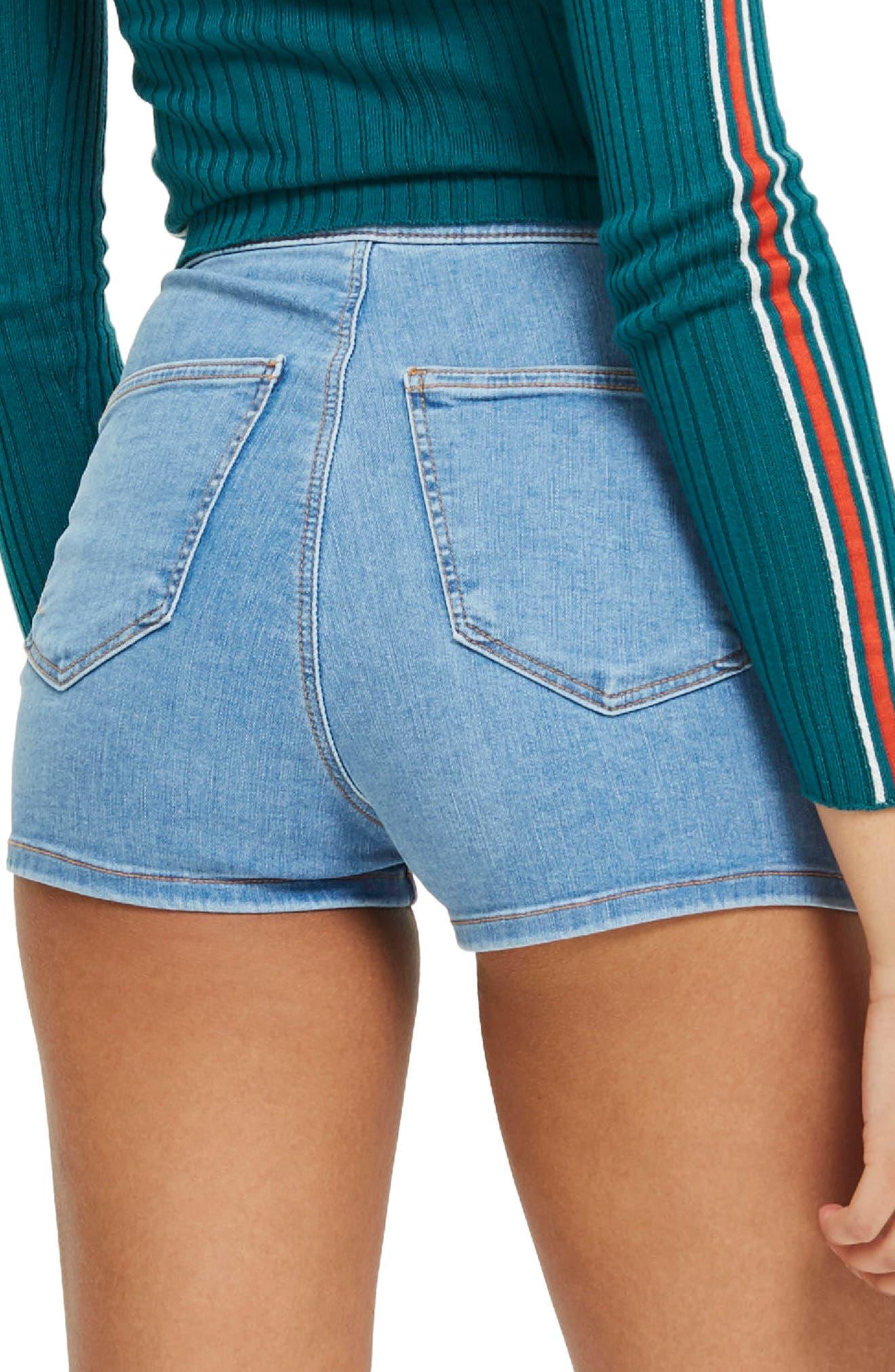 Joni Light Denim High Waist Shorts,                             Alternate thumbnail 3, color,                             Light Denim