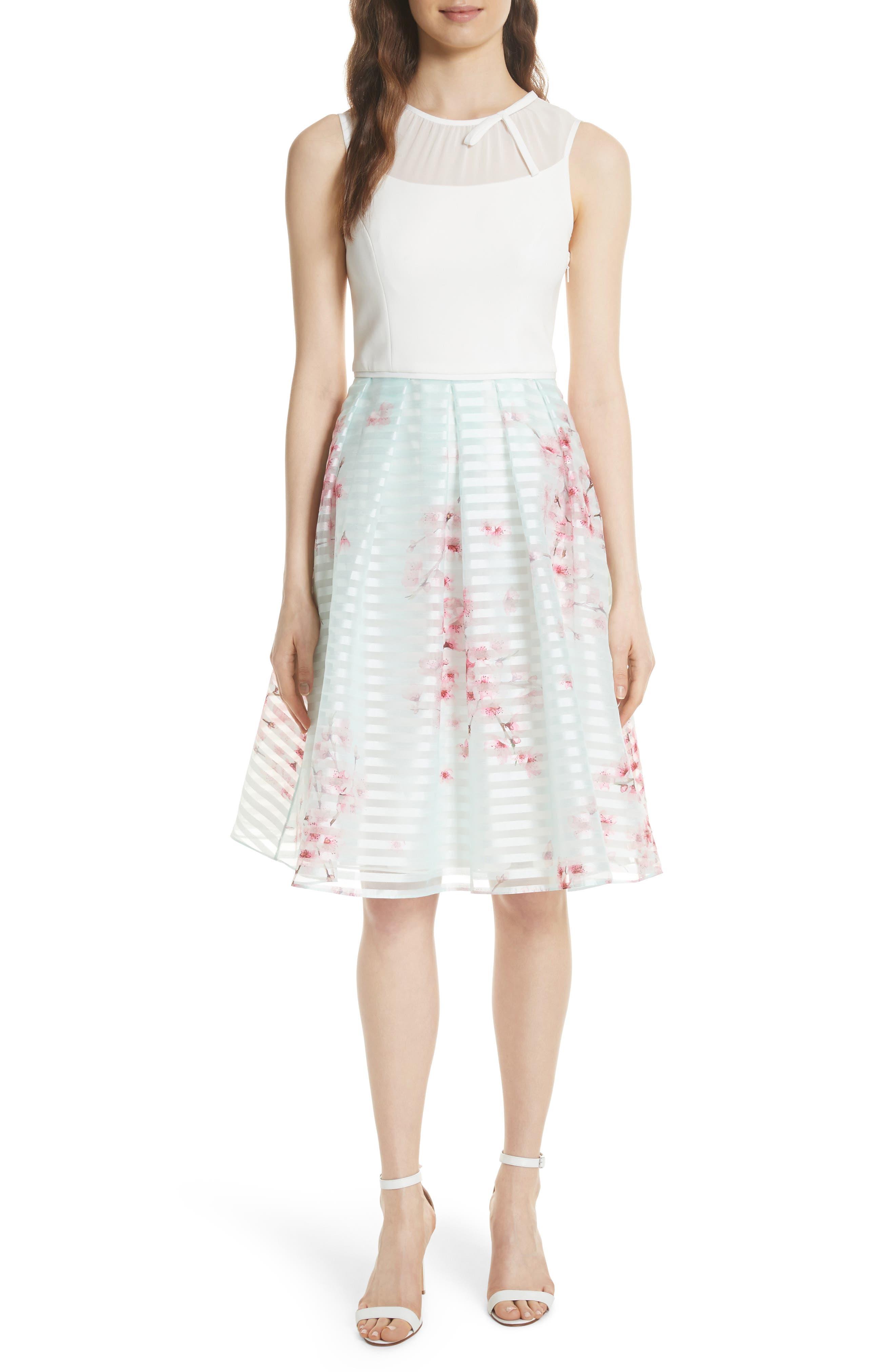 Soft Blossom Fit & Flare Dress,                         Main,                         color, Natural