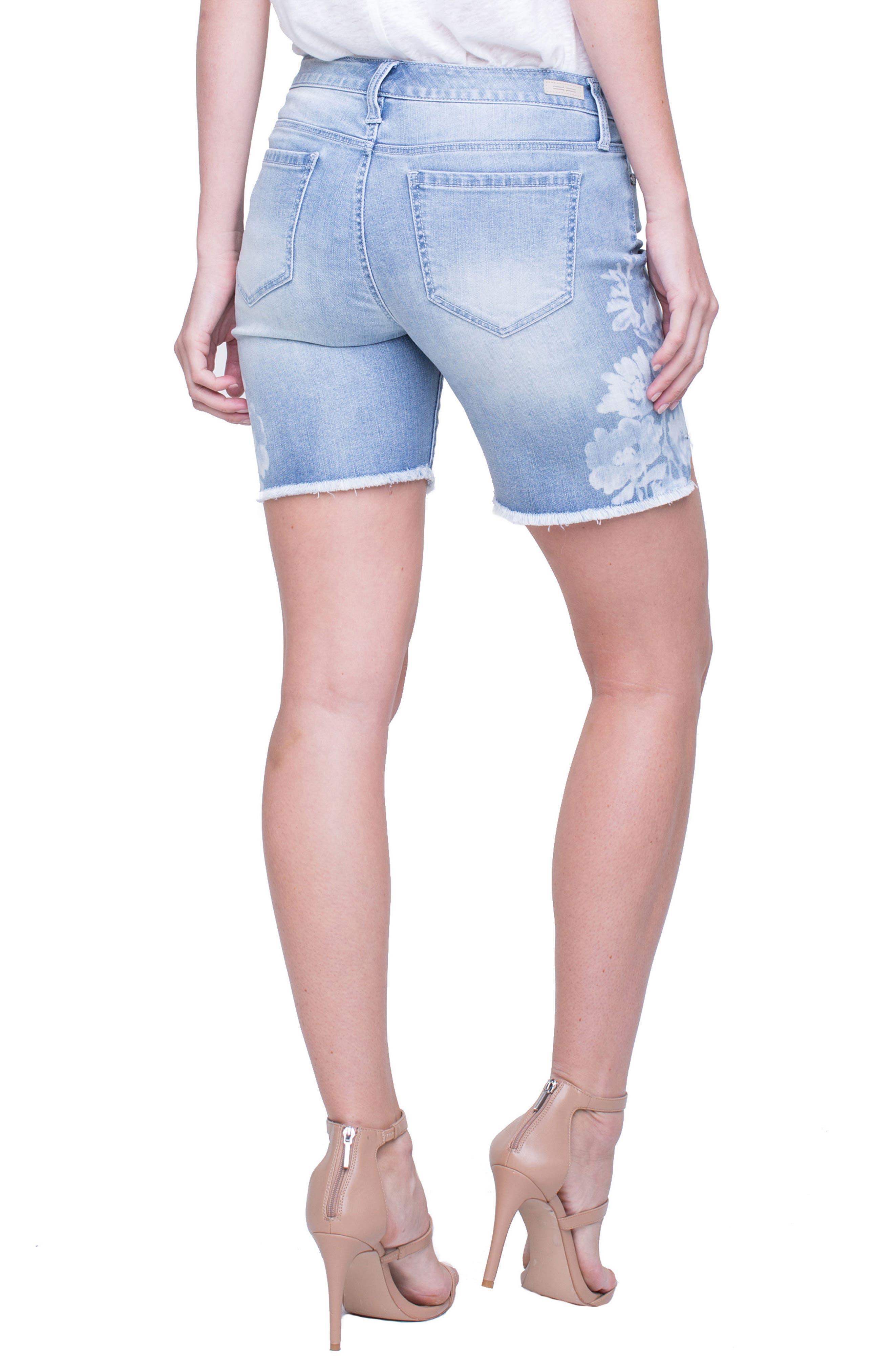 Corine Flower Frayed Denim Shorts,                             Alternate thumbnail 3, color,                             Mandalay Light