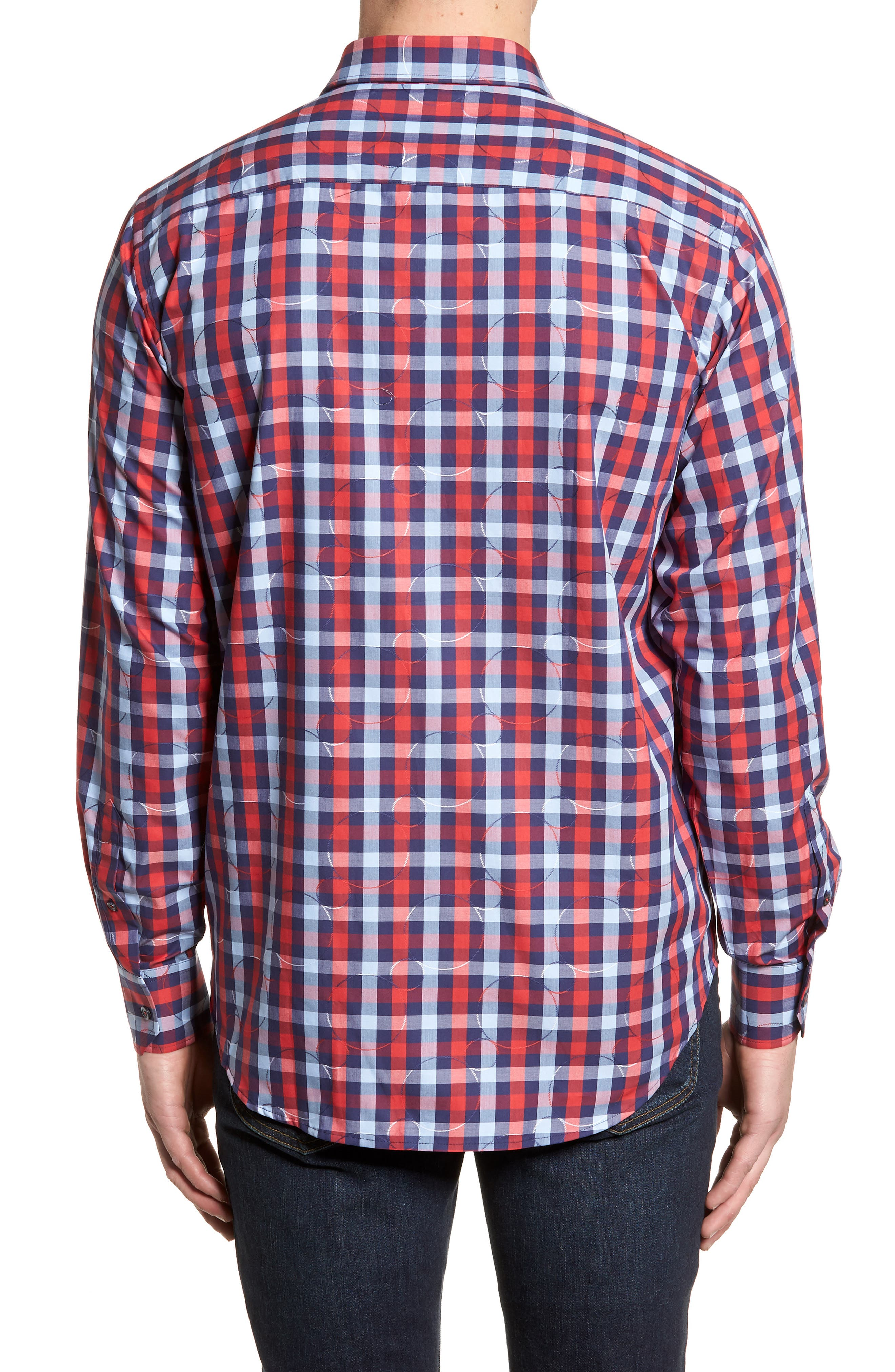 Classic Fit Woven Sport Shirt,                             Alternate thumbnail 2, color,                             Ruby